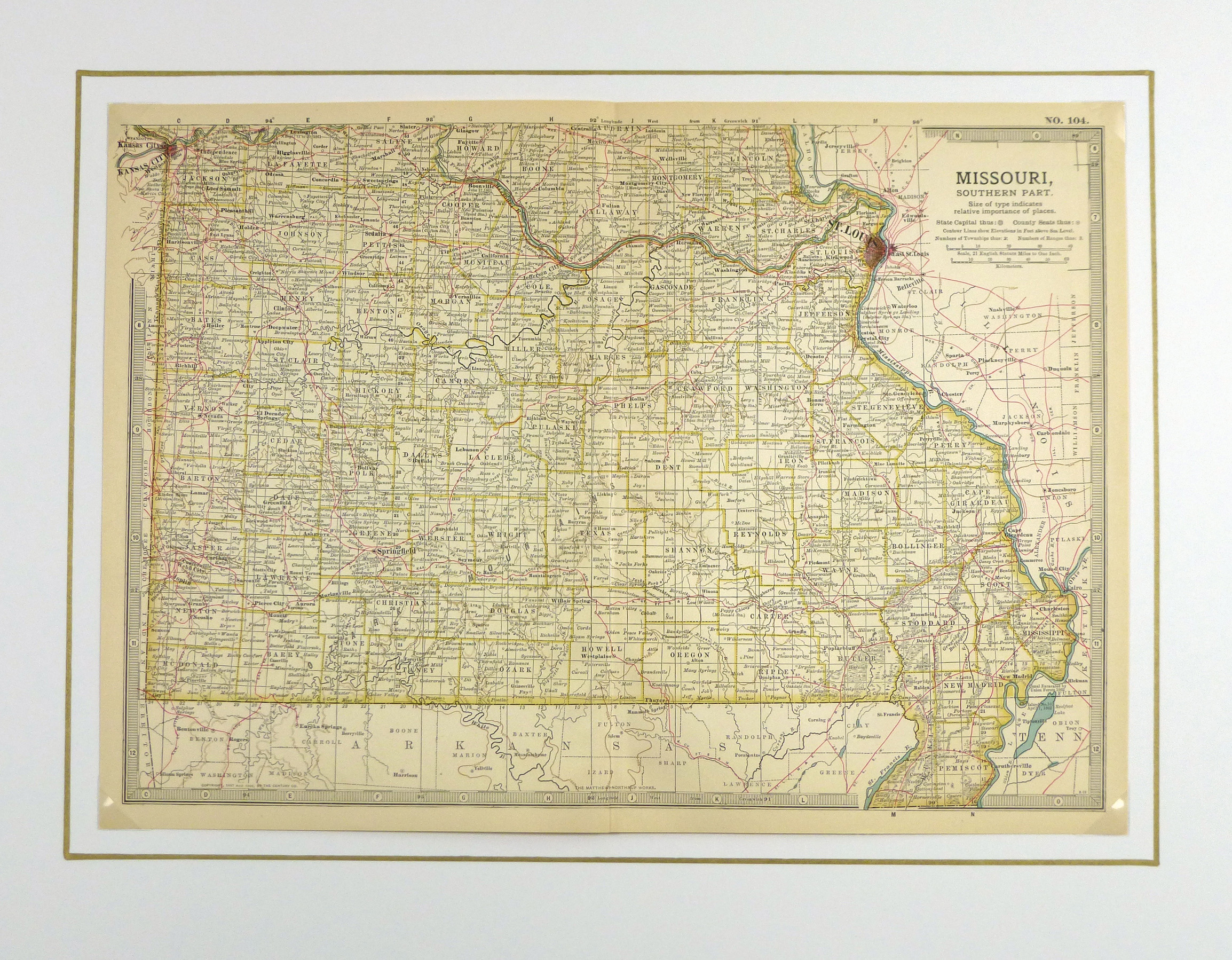 Southern Missouri, 1902 - Original Art, Antique Maps & Prints