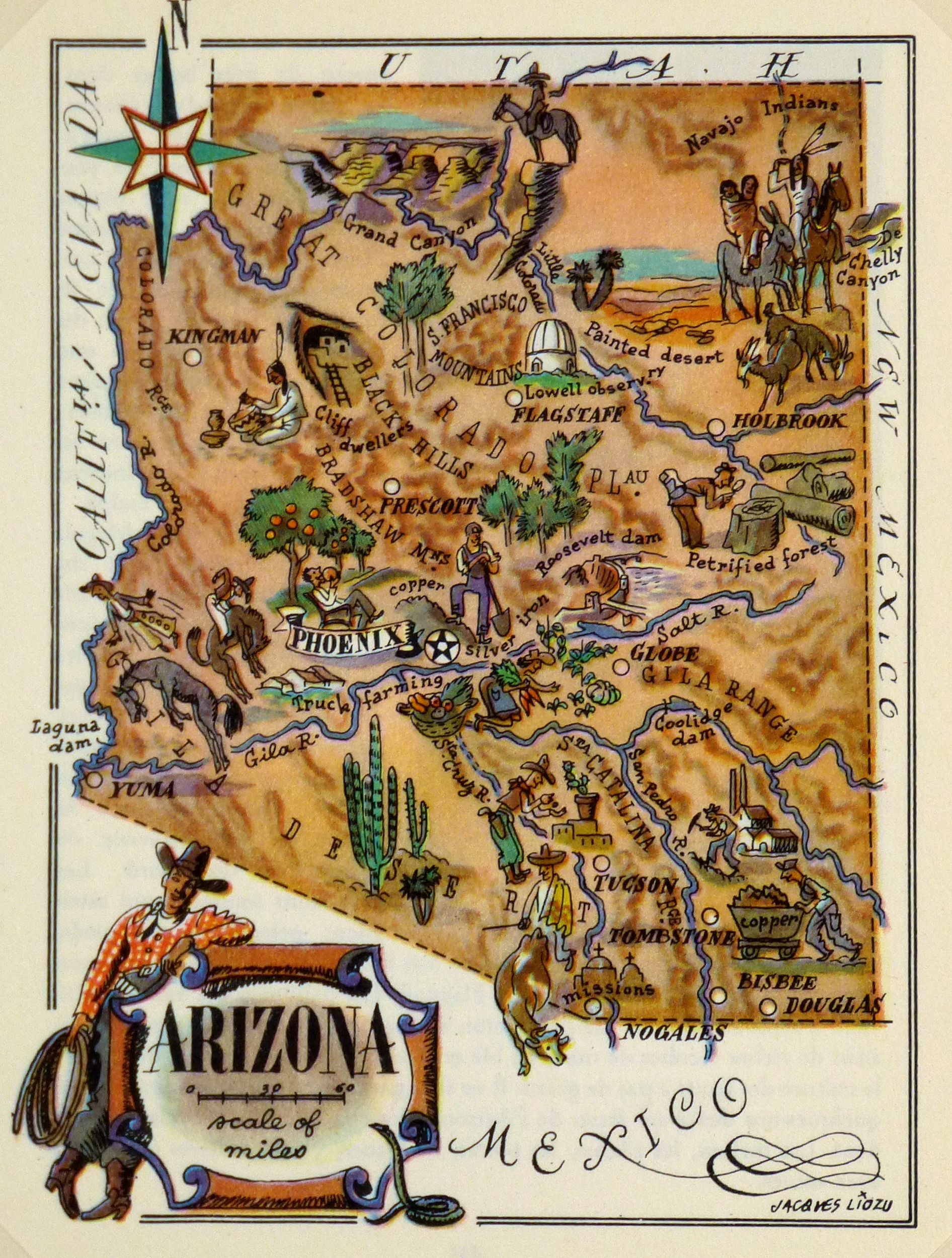 Map Of Arizona Nevada.Arizona Pictorial Map 1946