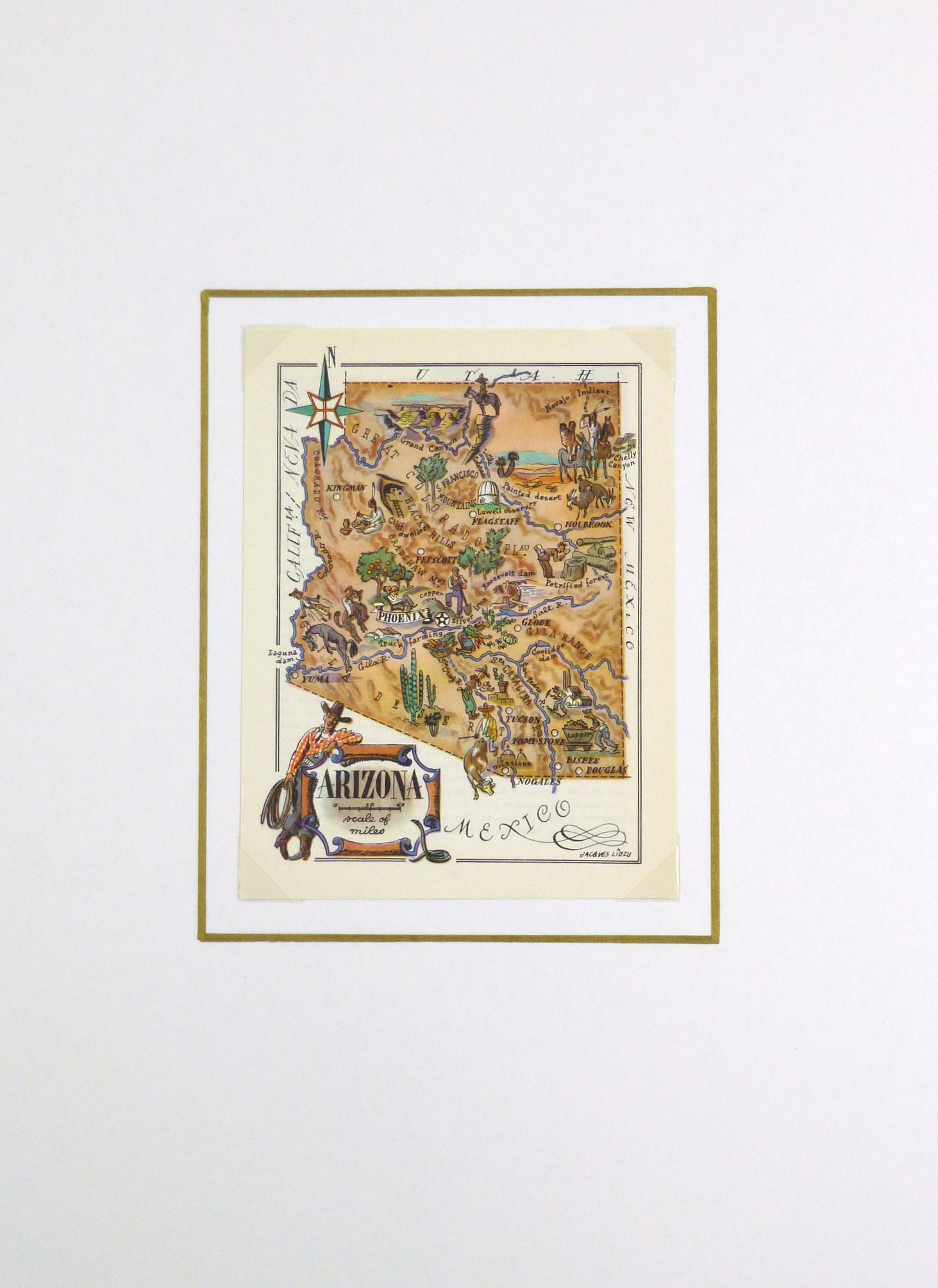 Pictorial Map - Arizona, 1946-matted-5895K