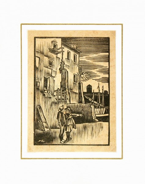 Port Woodblock, 1930-matted-6139K