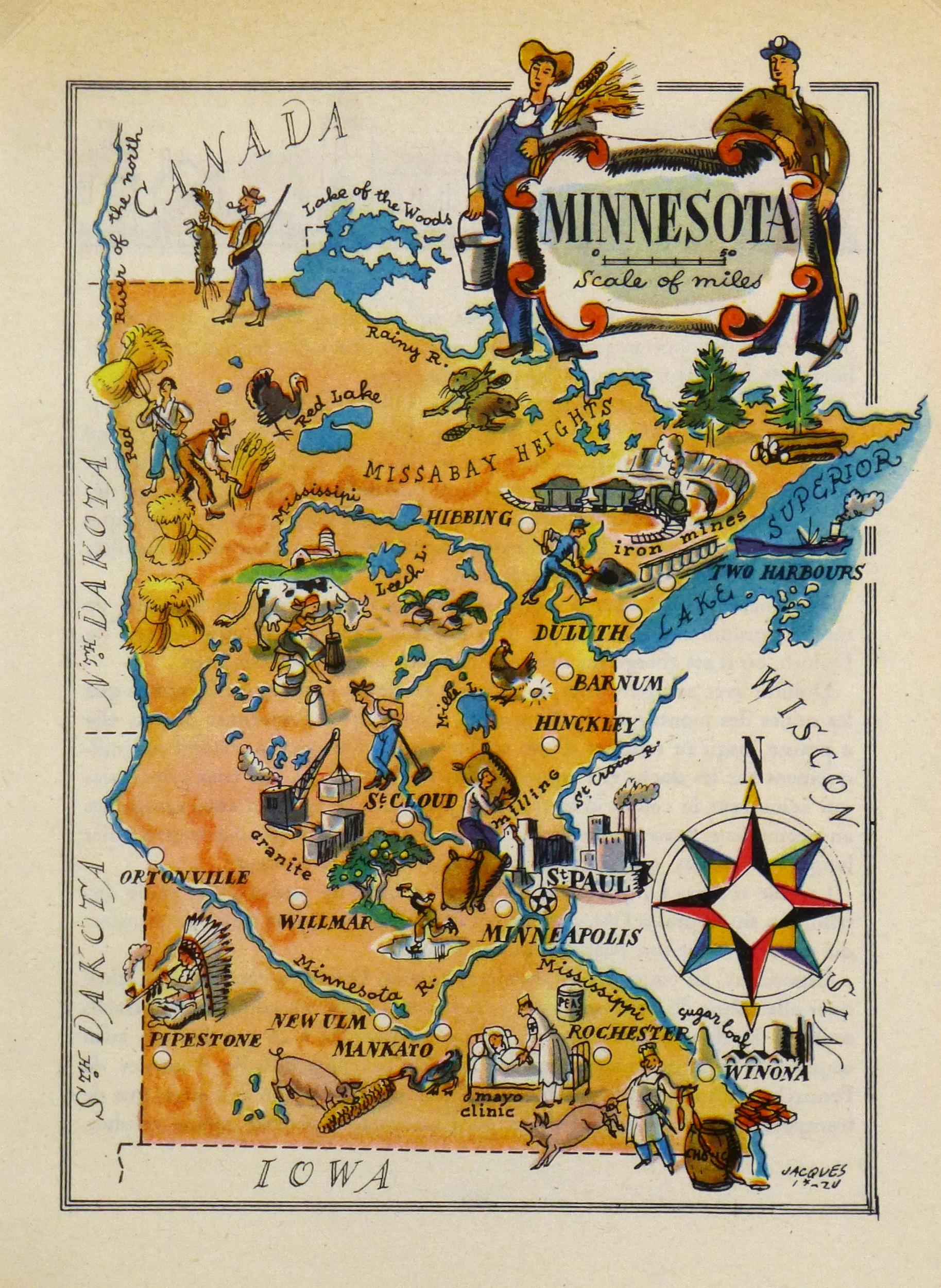 Minnesota Pictorial Map, 1946-main-6230K