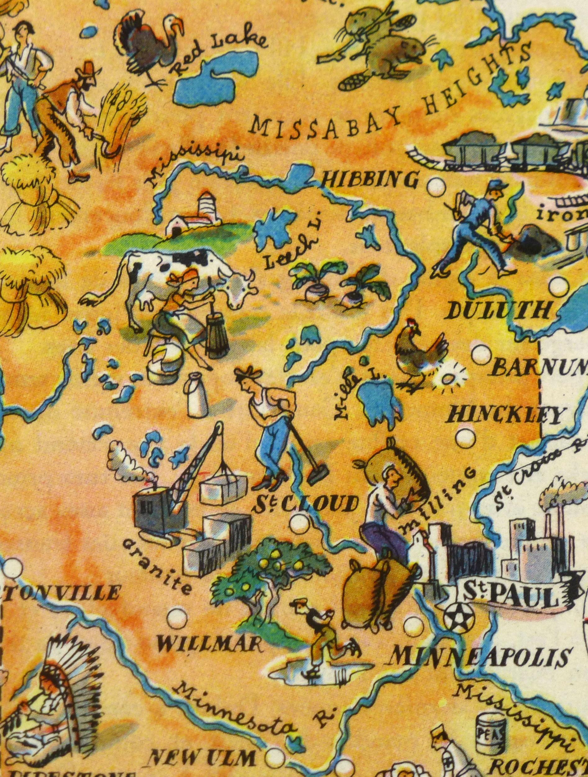 Minnesota Pictorial Map, 1946-detail-6230K