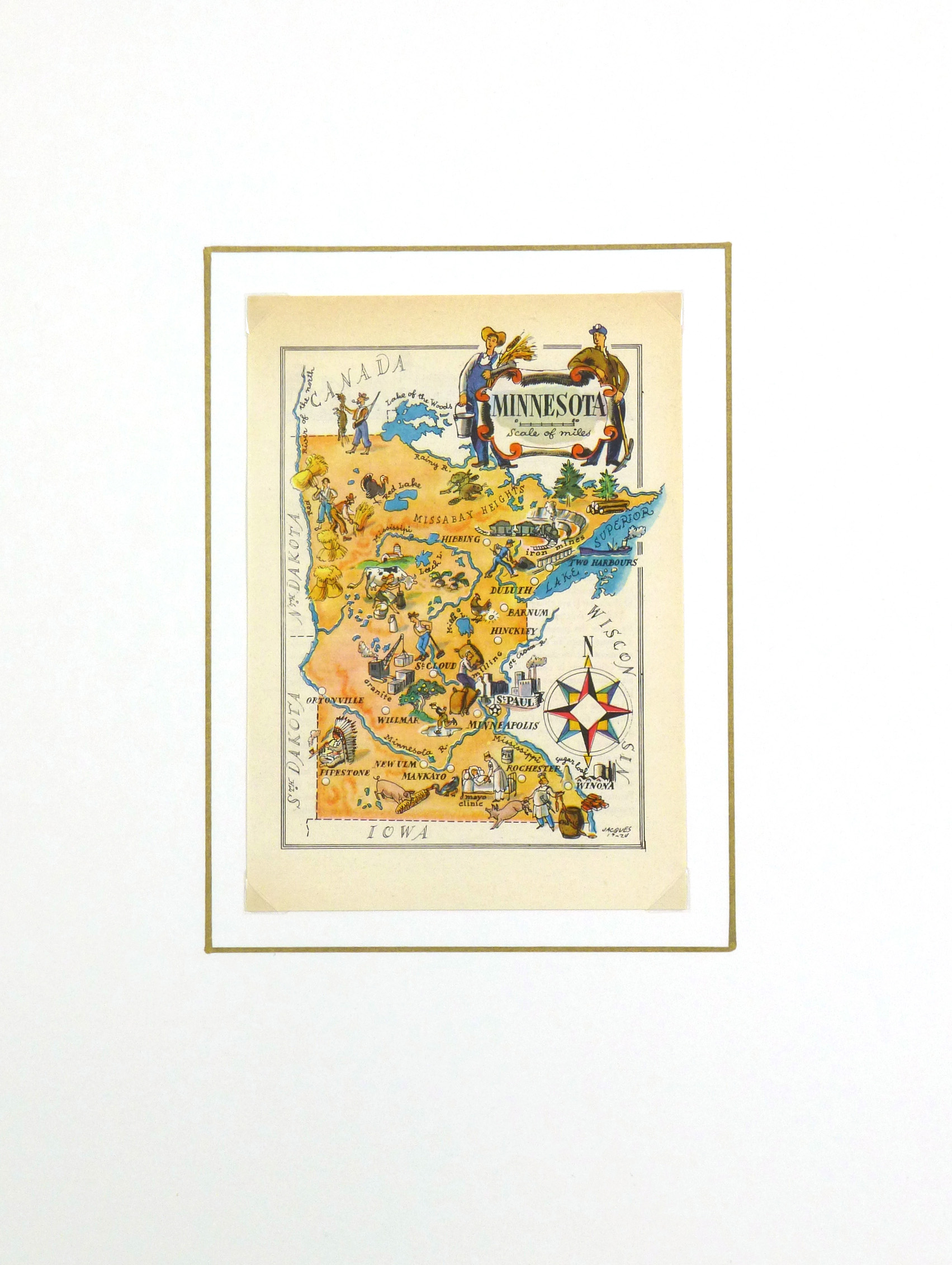 Minnesota Pictorial Map, 1946-matted-6230K