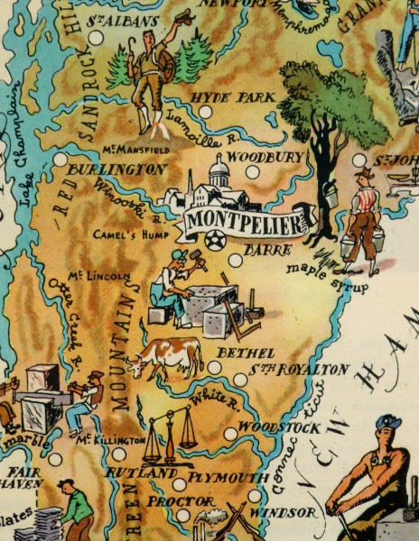 Vermont Pictorial Map, 1946-detail-6232K