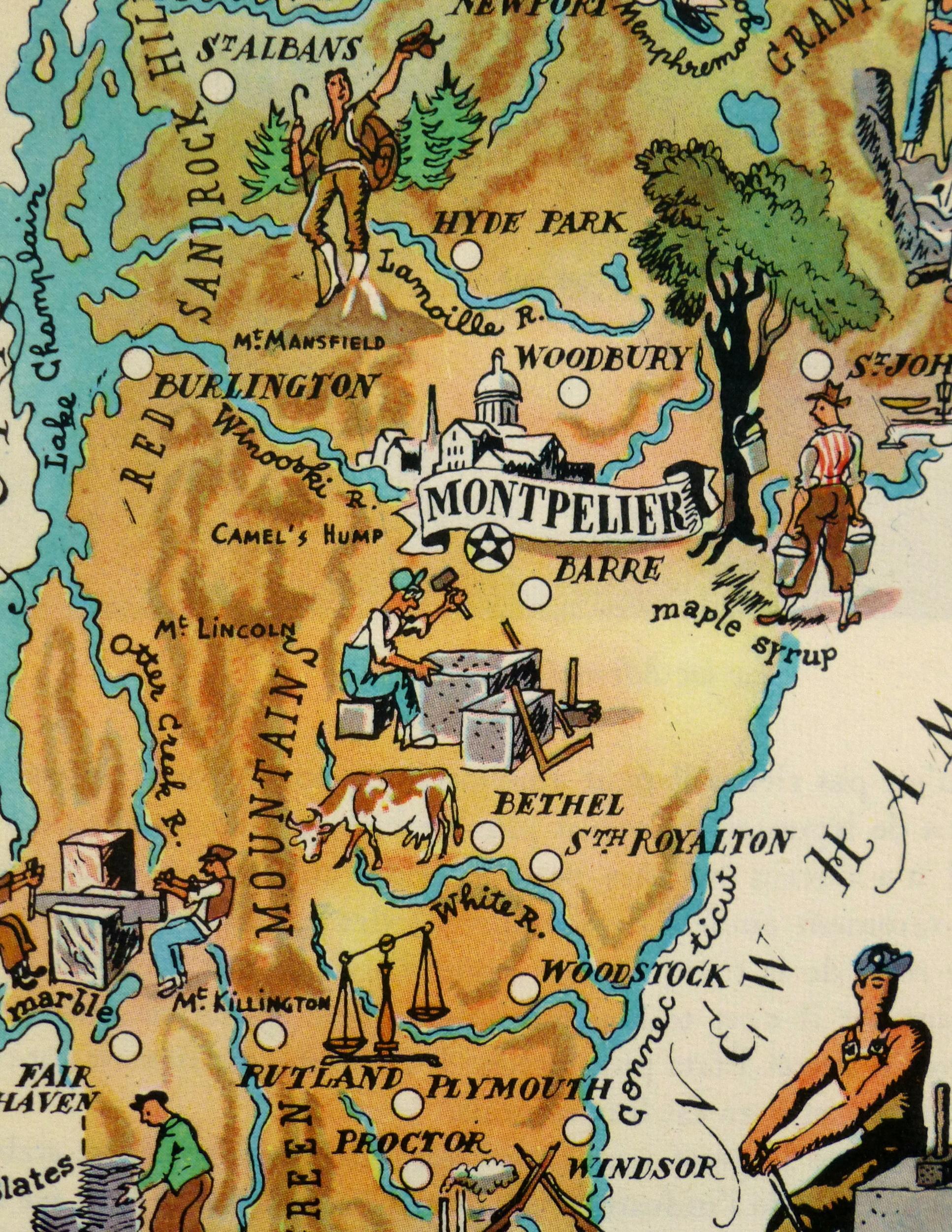 Vermont Pictorial Map, 1946-detail-6232K
