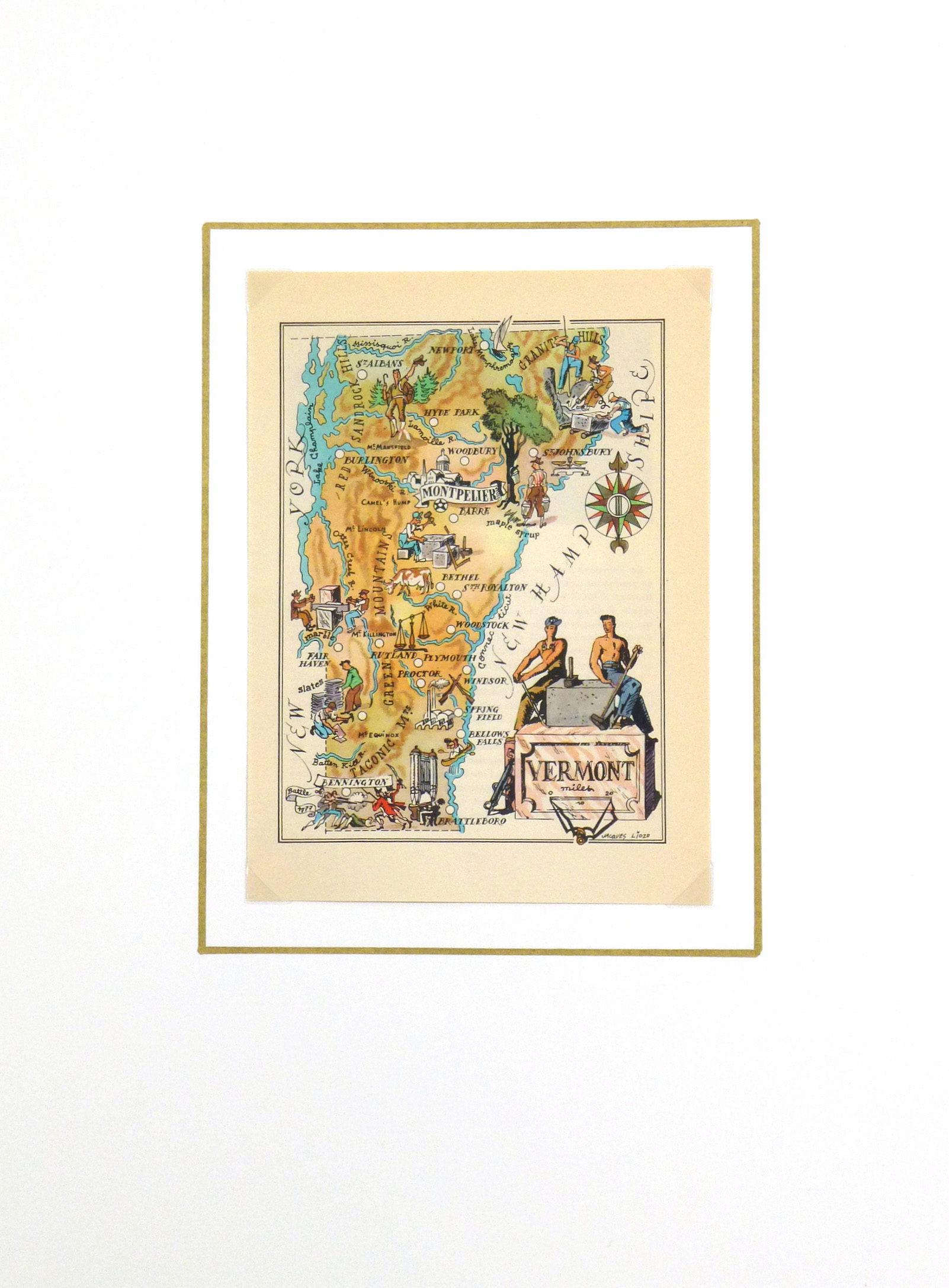 Vermont Pictorial Map, 1946-matted-6232K