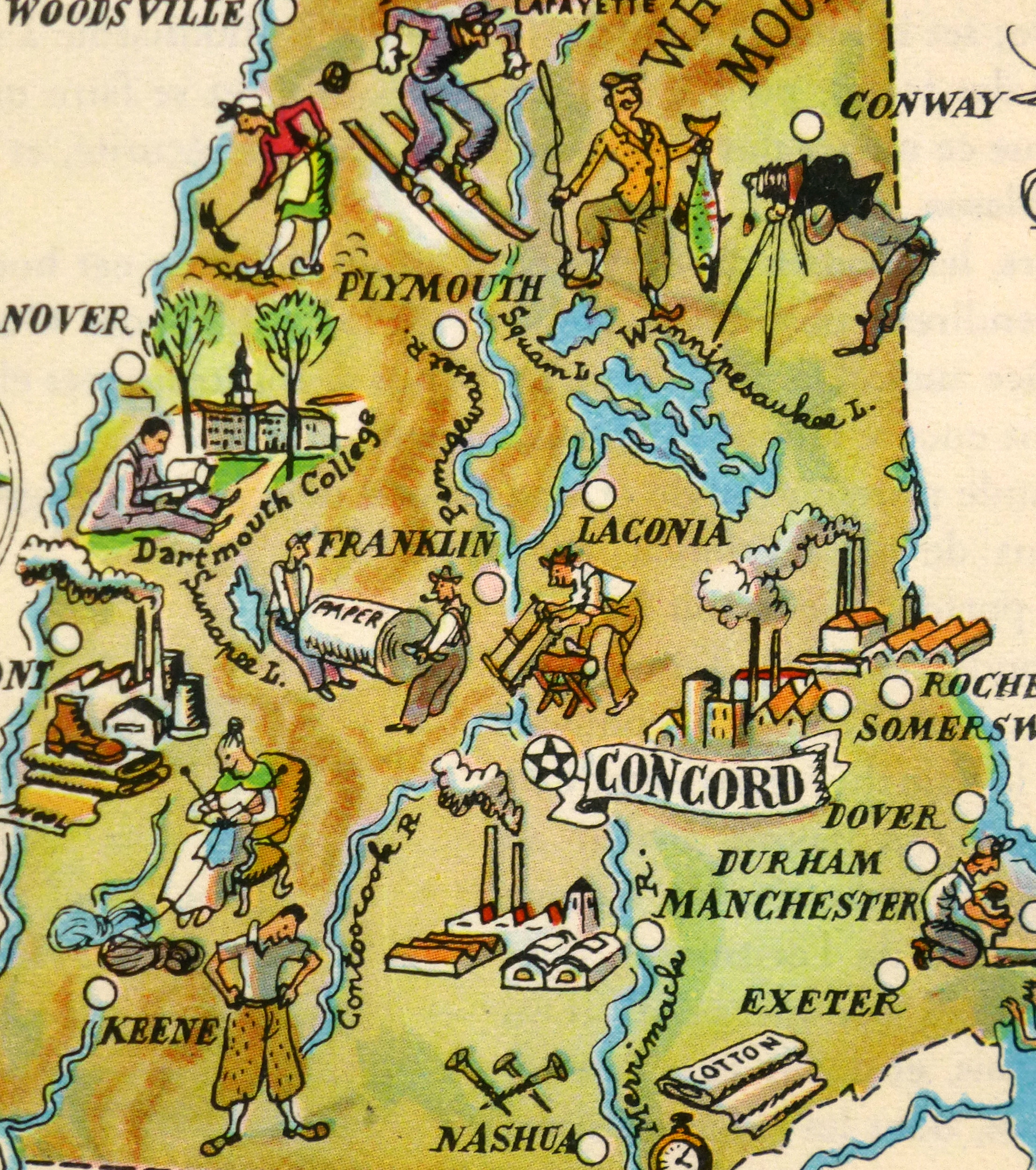 New Hampshire Pictorial Map, 1946-detail-6233K