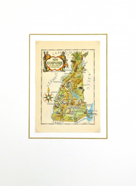 New Hampshire Pictorial Map, 1946-matted-6233K