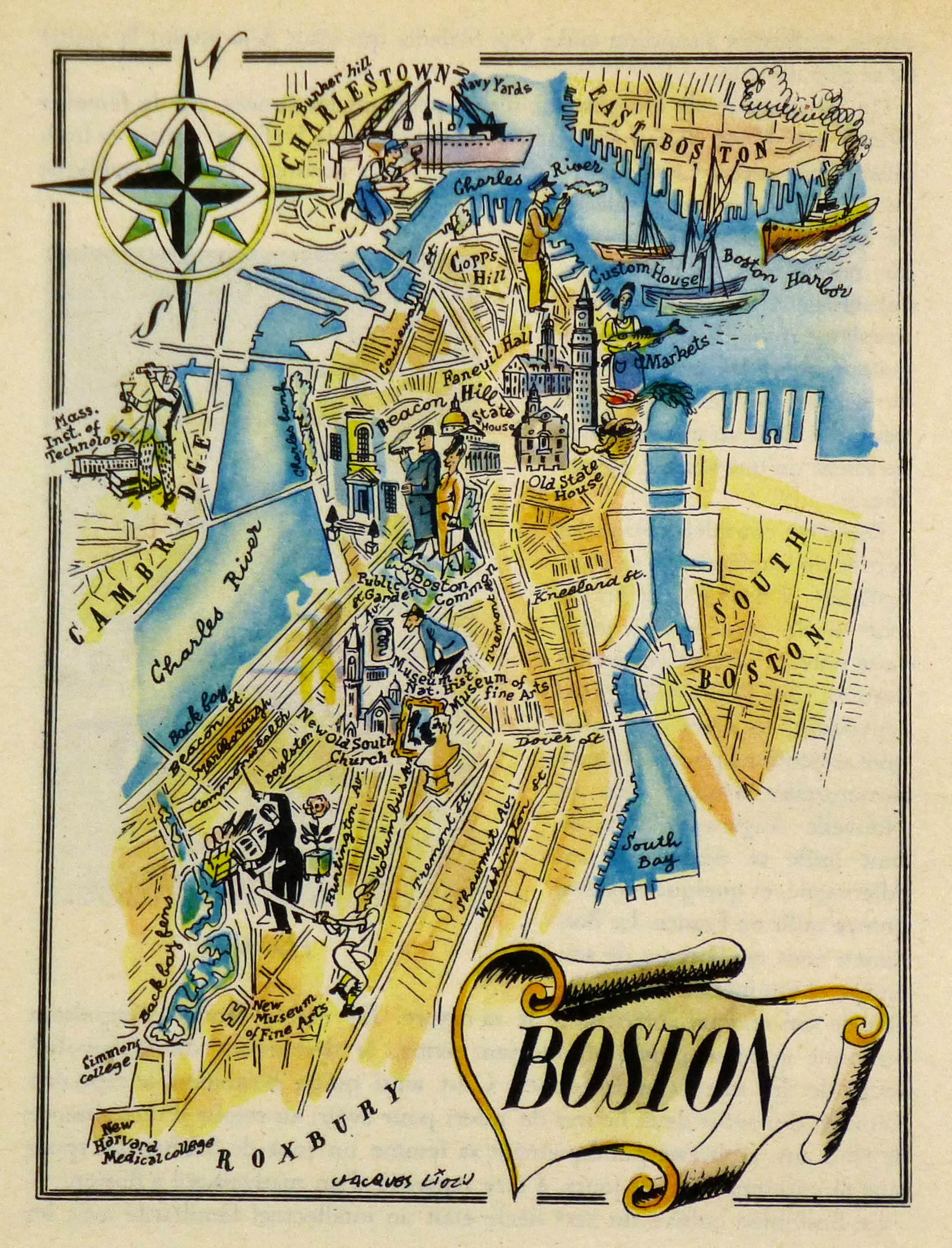 boston pictorial map  1946