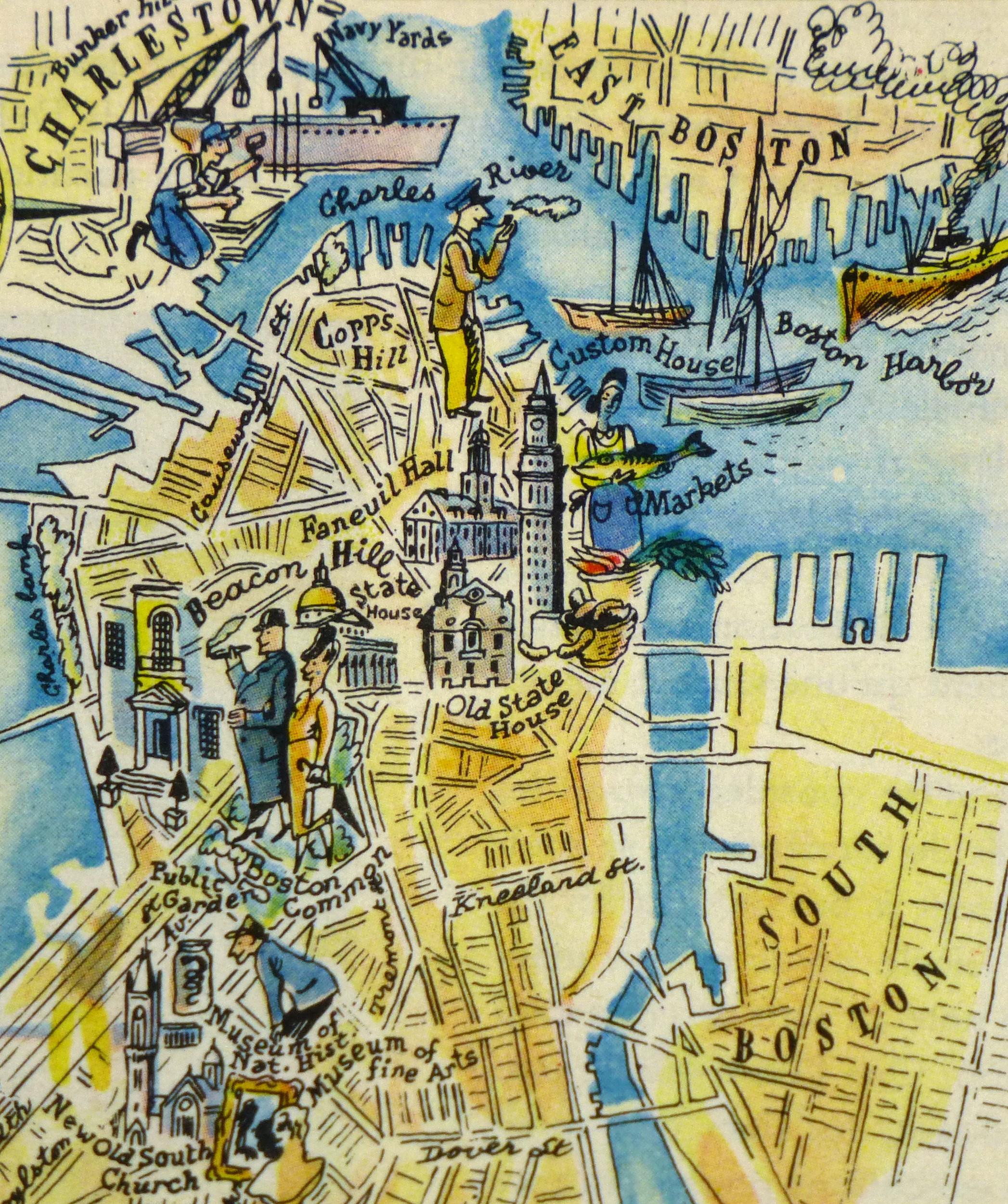 Boston Pictorial Map 1946
