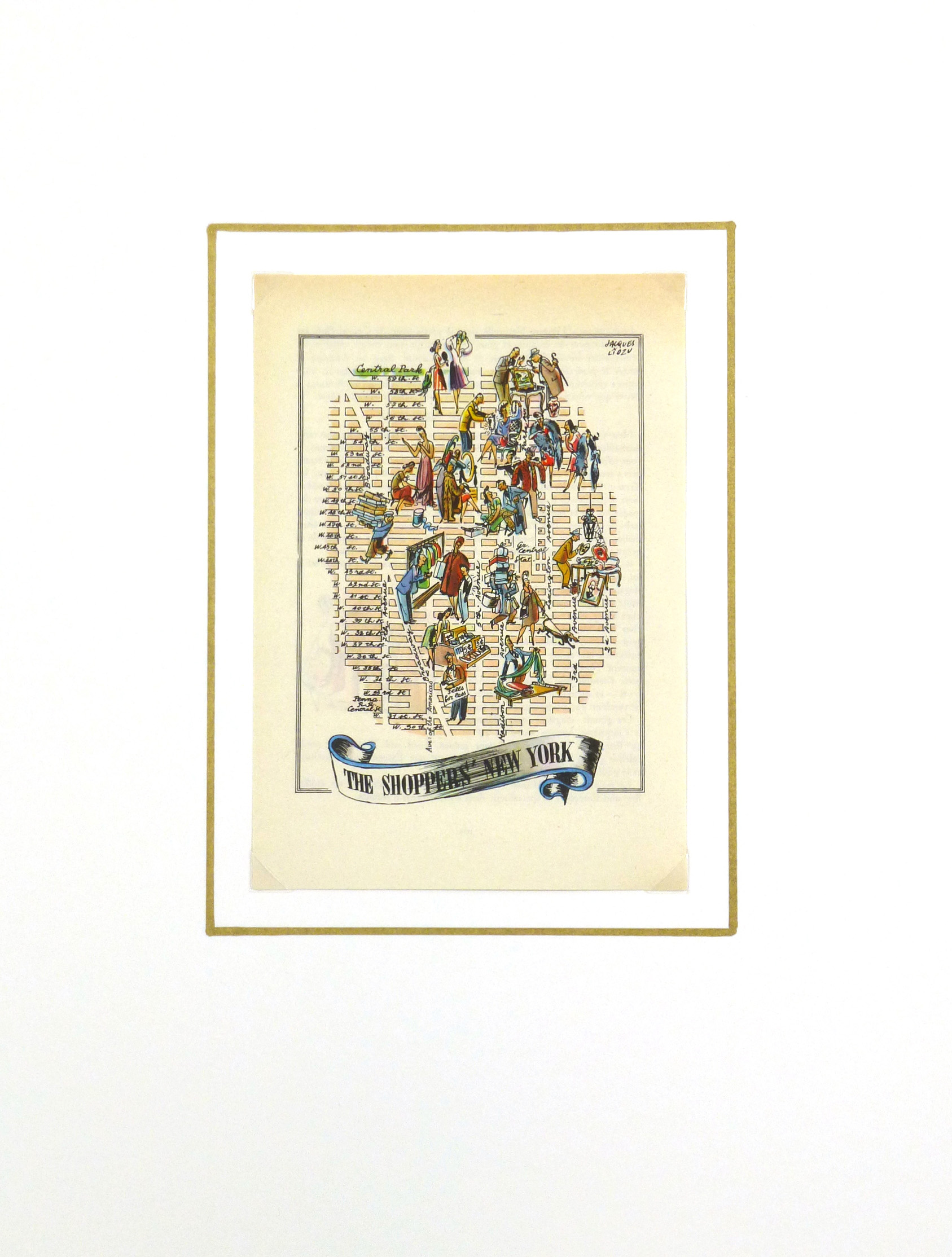 Shoppers of New York City Pictorial Map, 1946-matted-6235K