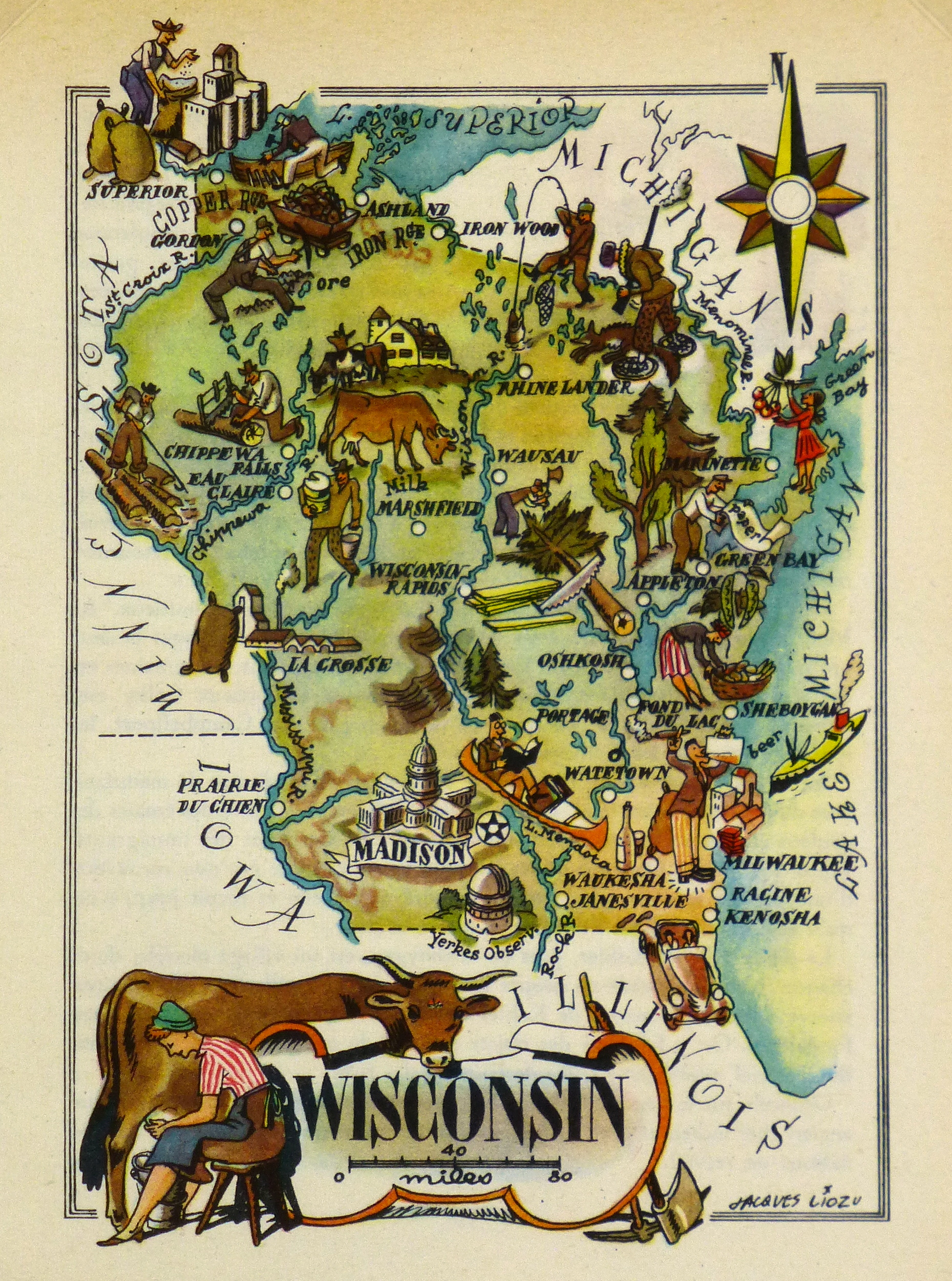 Wisconsin Pictorial Map, 1946-main-6236K
