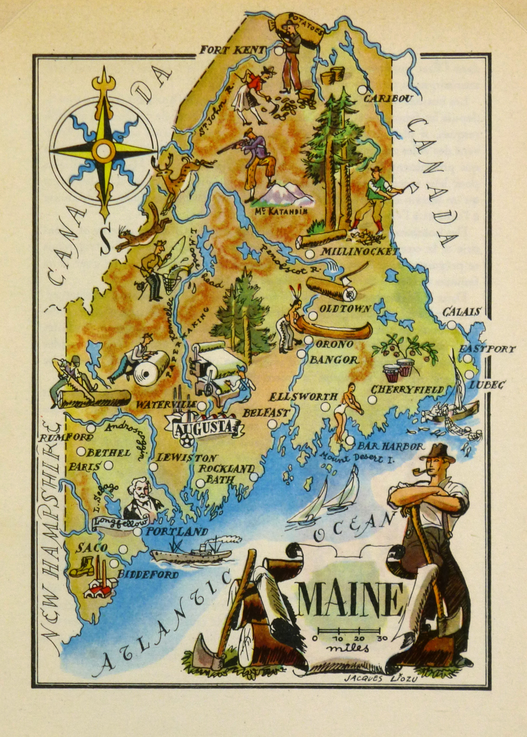 MAINE Original Art Antique Maps Prints - Antique map of maine