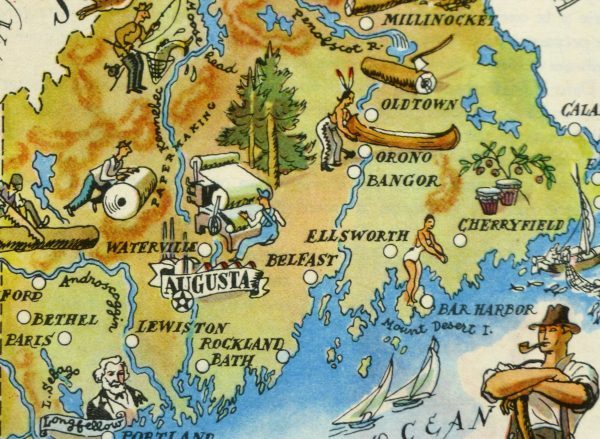 Maine Pictorial Map, 1946-detail-6237K