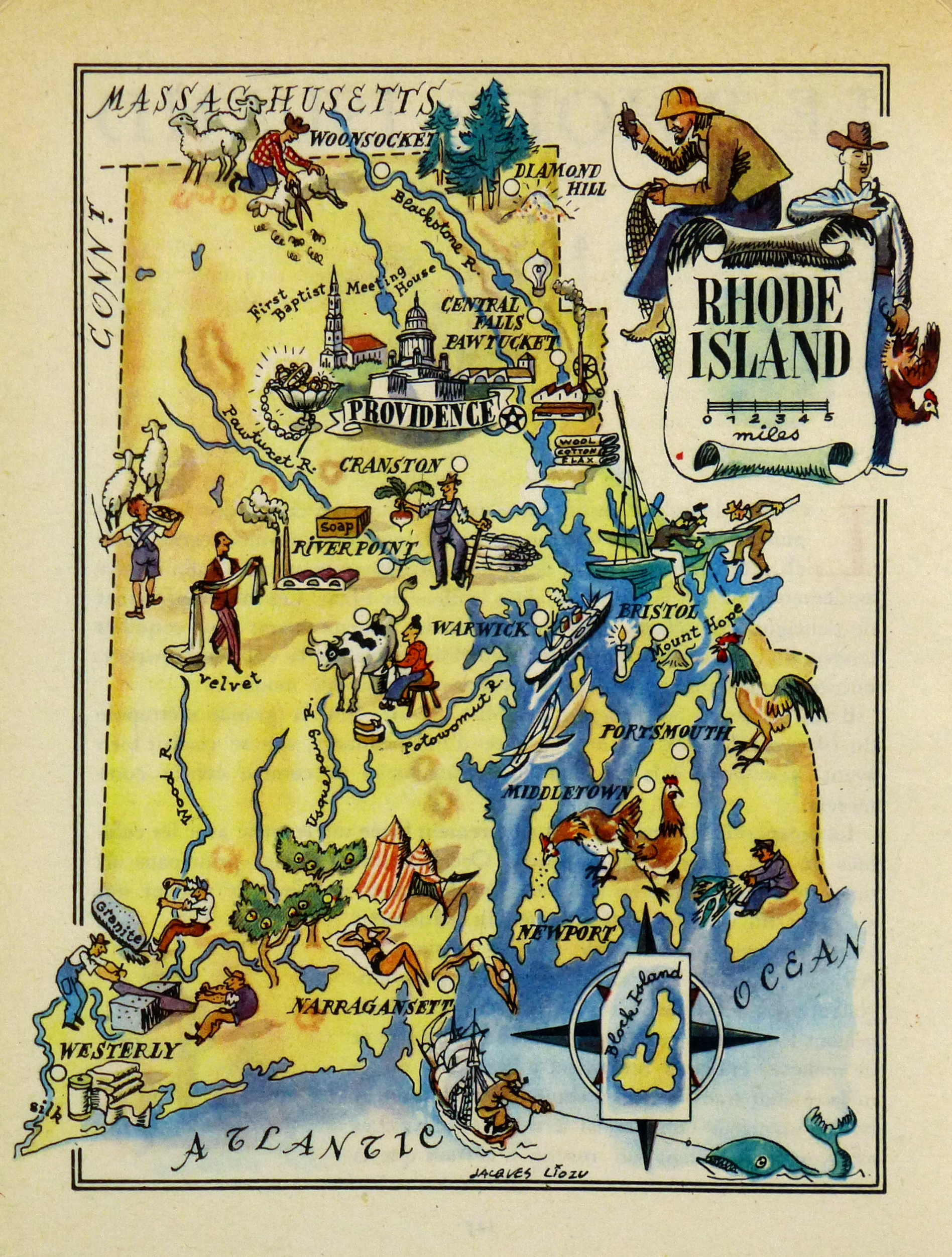 Rhode Island Pictorial Map - Map of rhode island