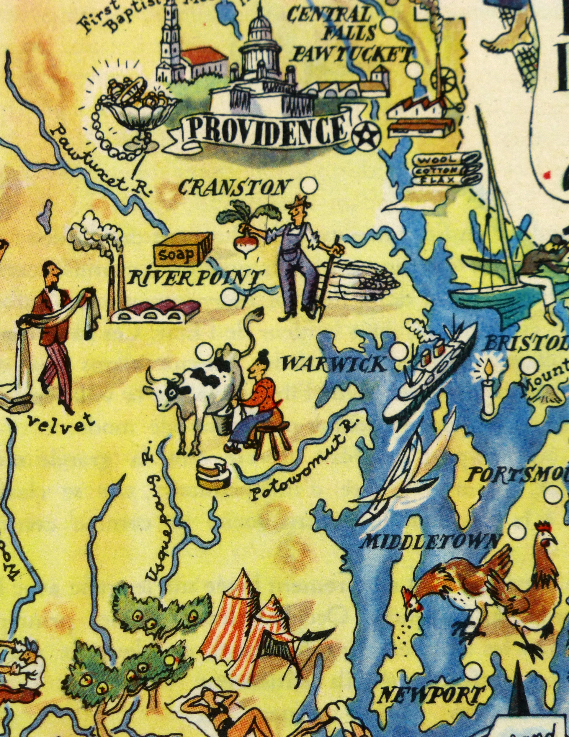 Rhode Island Pictorial Map, 1946-detail-6238K