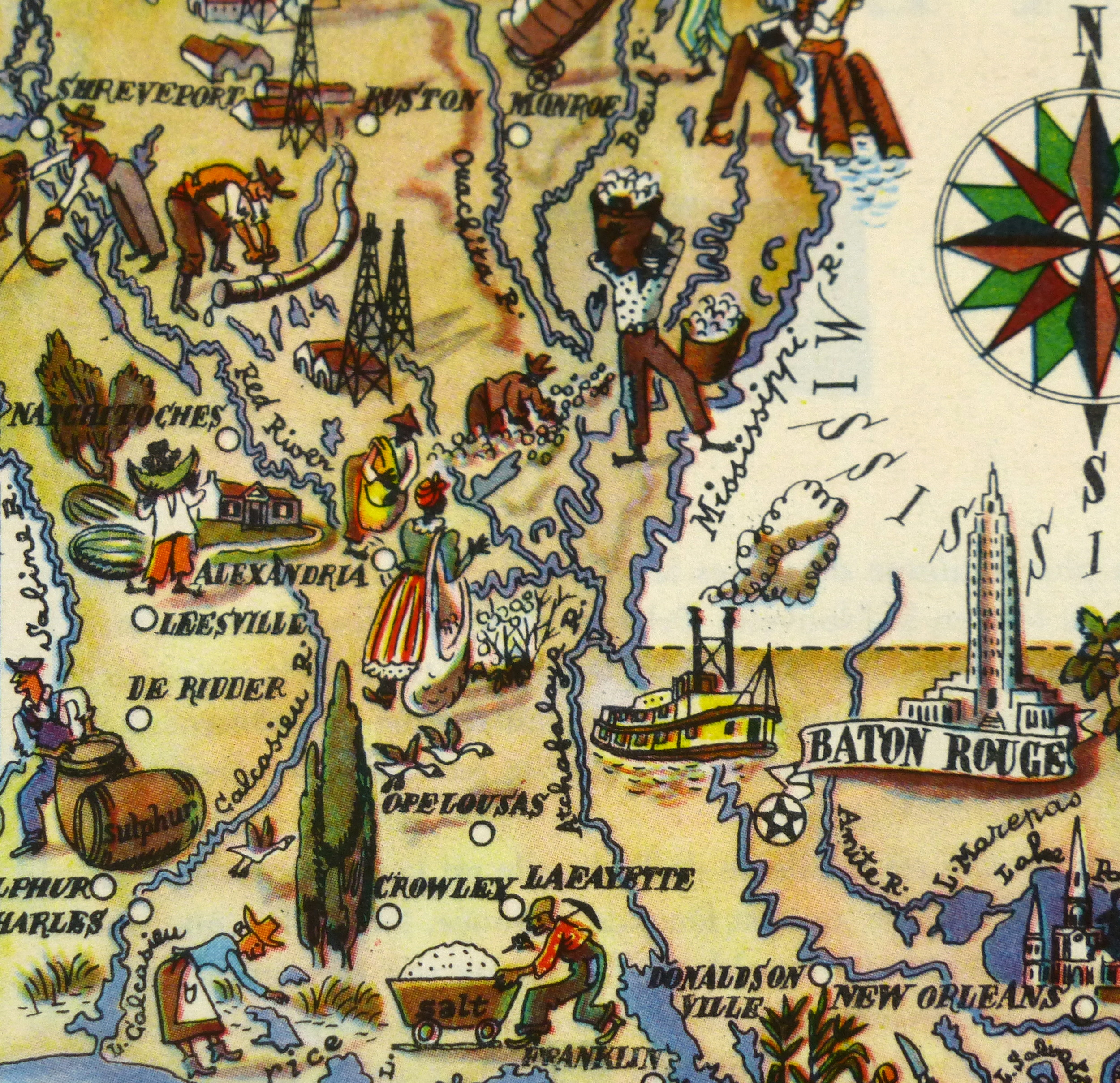 Louisiana Pictorial Map, 1946-detail-6239K