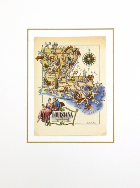 Louisiana Pictorial Map, 1946-matted-6239K