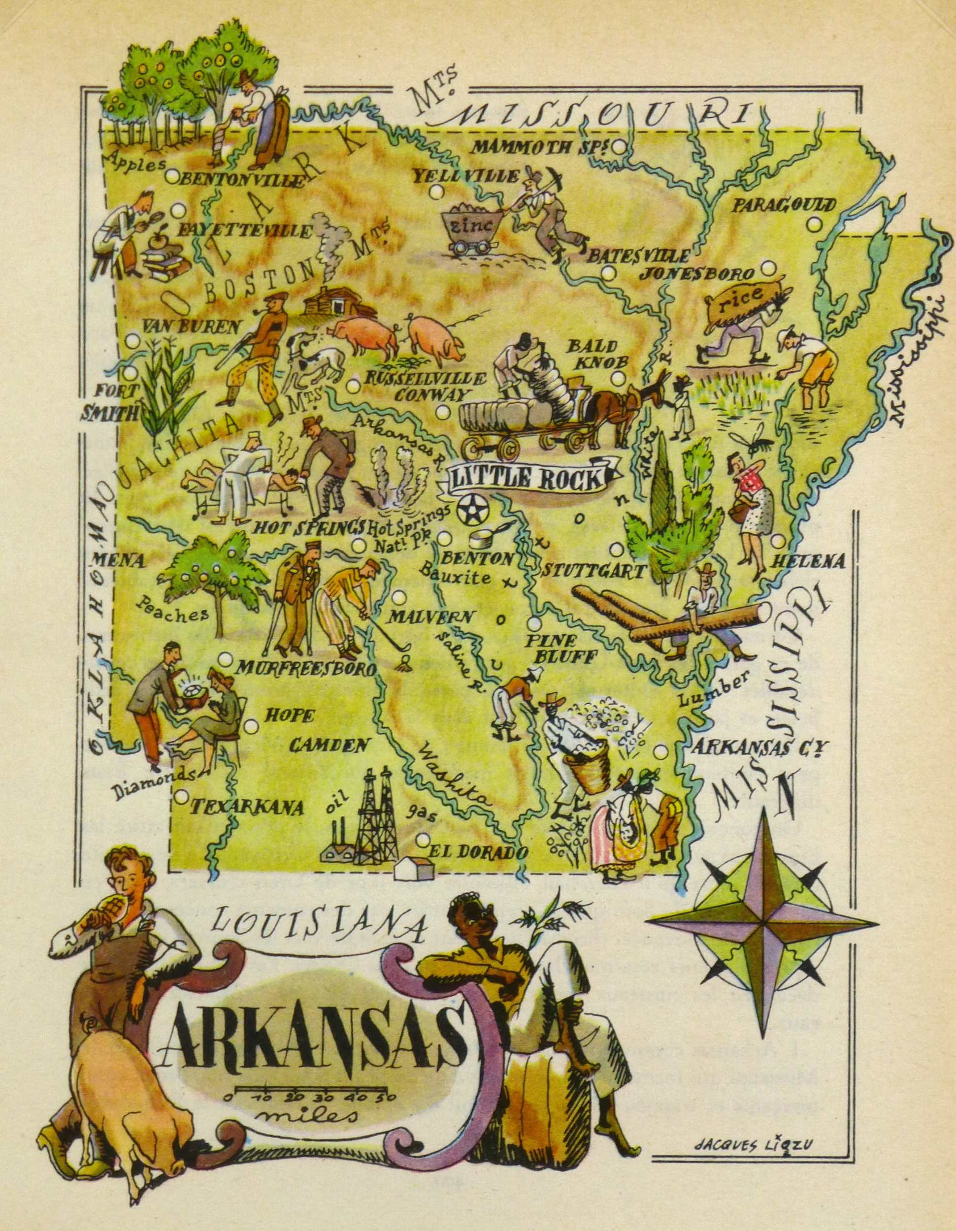 Arkansas Pictorial Map 1946