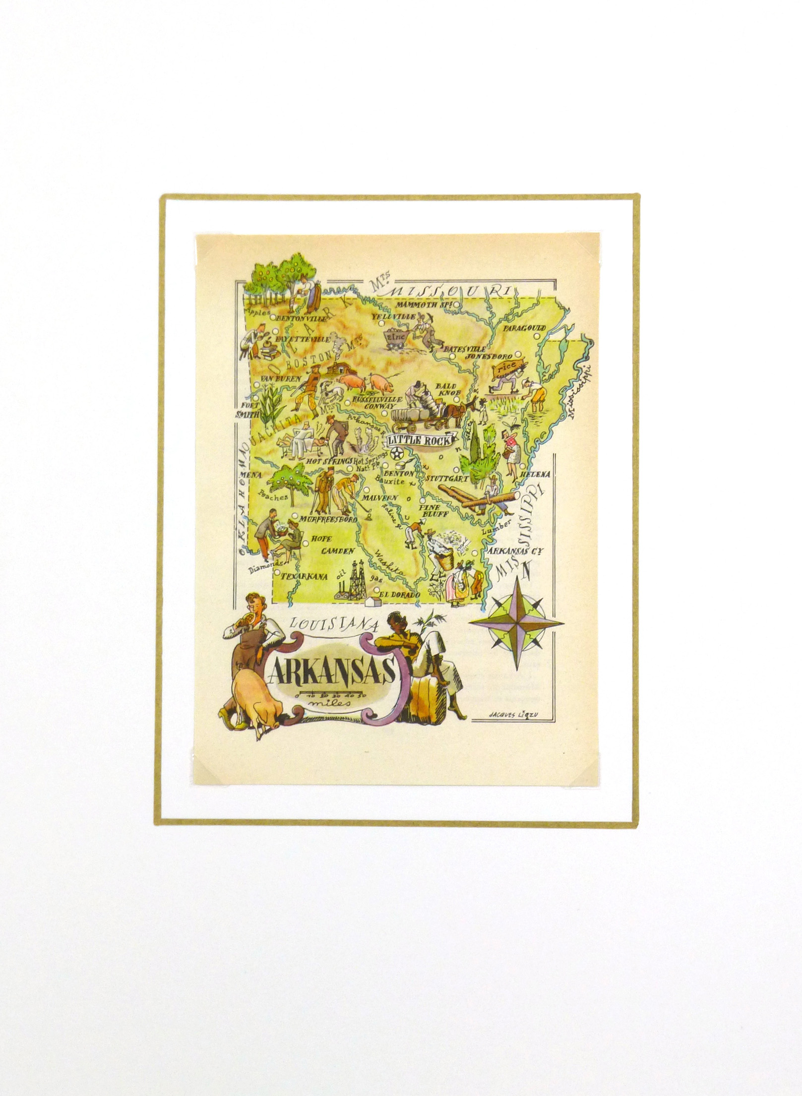 Pictorial Map - Arkansas, 1946-matted-6240K