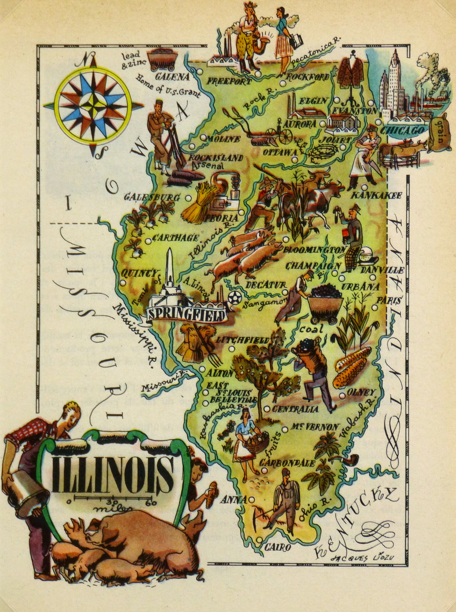 illinois pictorial map 1946