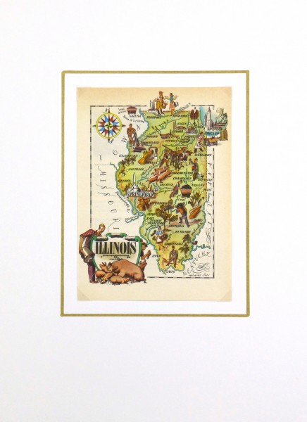 Pictorial Map - Indiana, 1946-matted-6231K