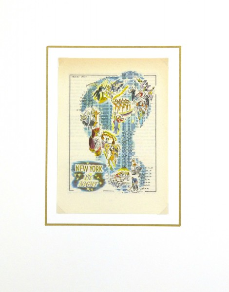 New York at Night Pictorial Map, 1946-matted-6242K