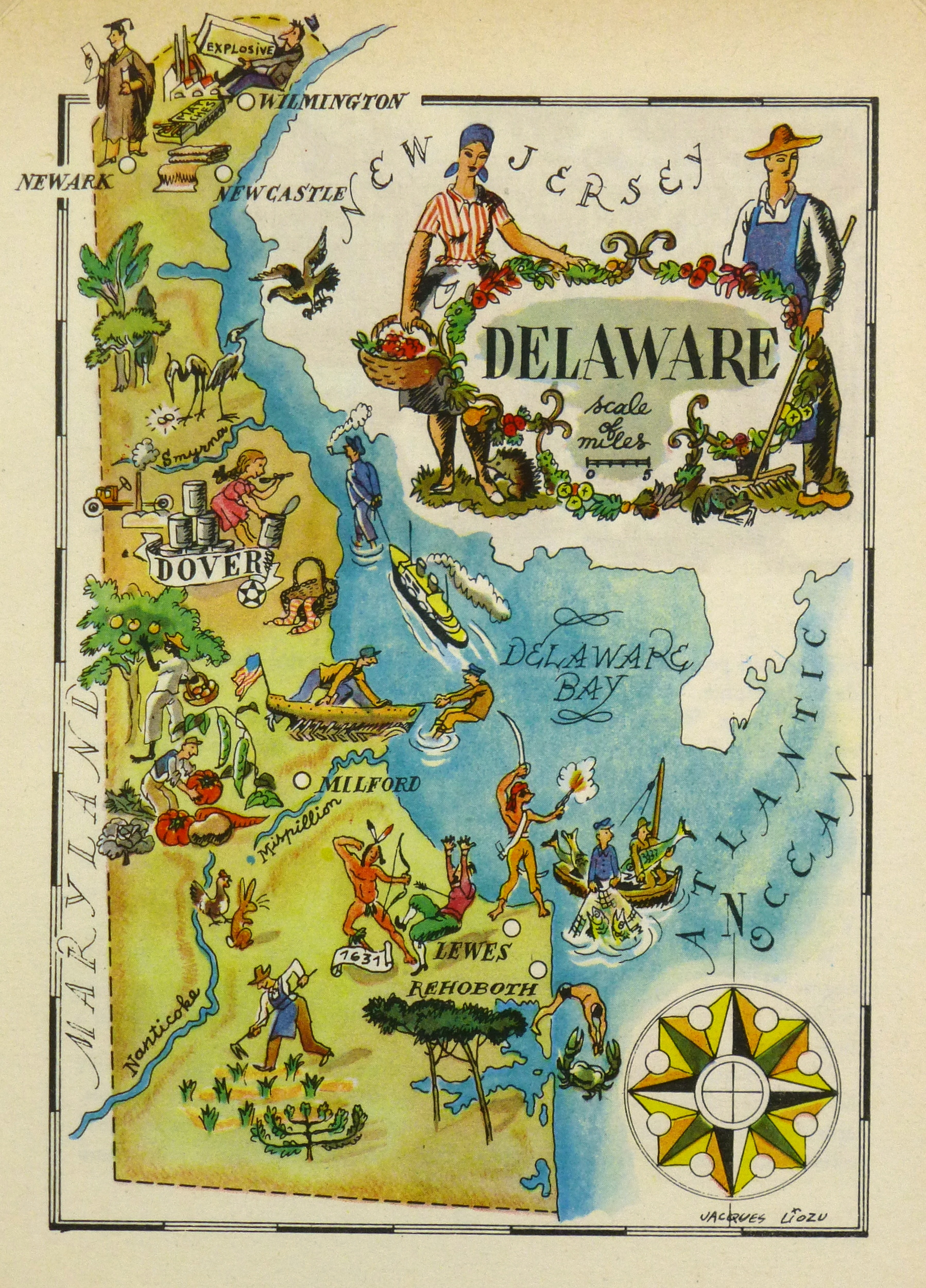 Delaware Pictorial Map, 1946 on