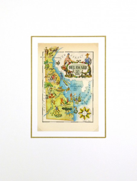 Pictorial Map - Delaware, 1946-matted-6243K
