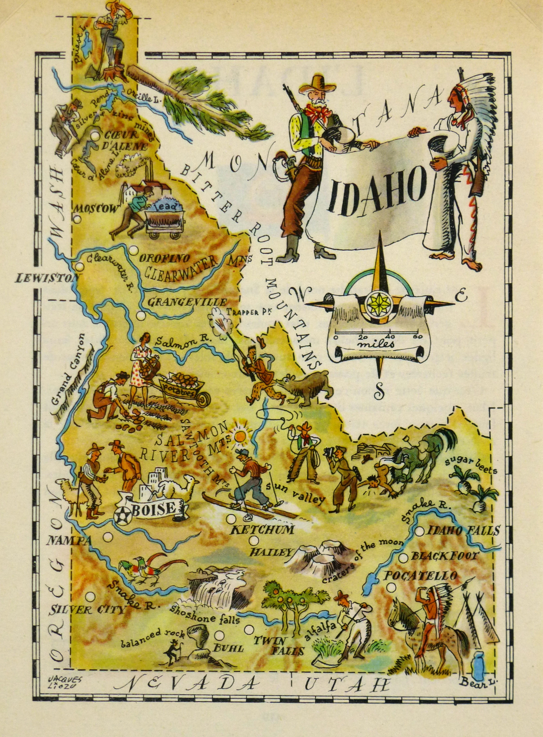 Idaho Pictorial Map, 1946