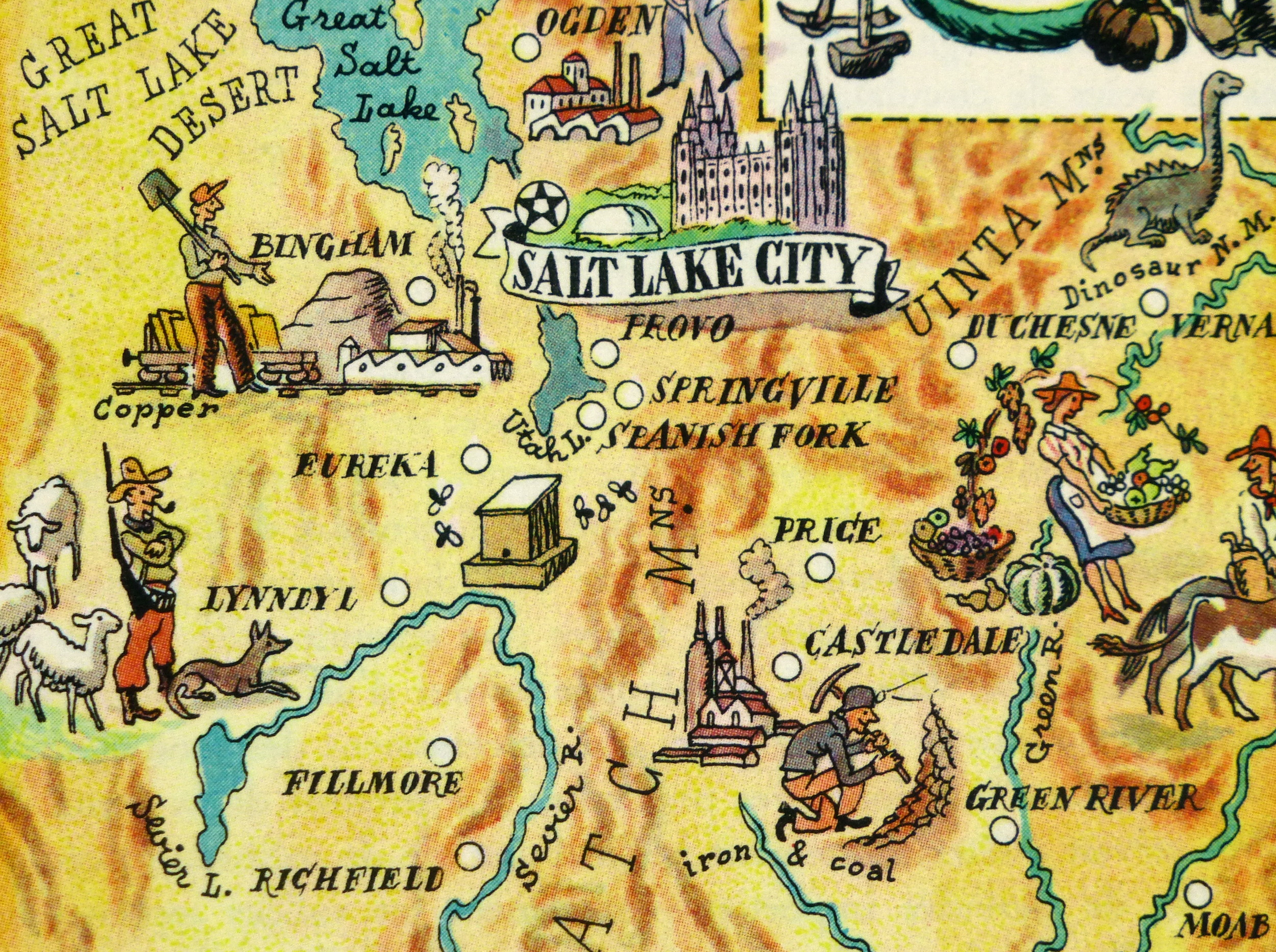 Utah Pictorial Map, 1946-detail-6245K