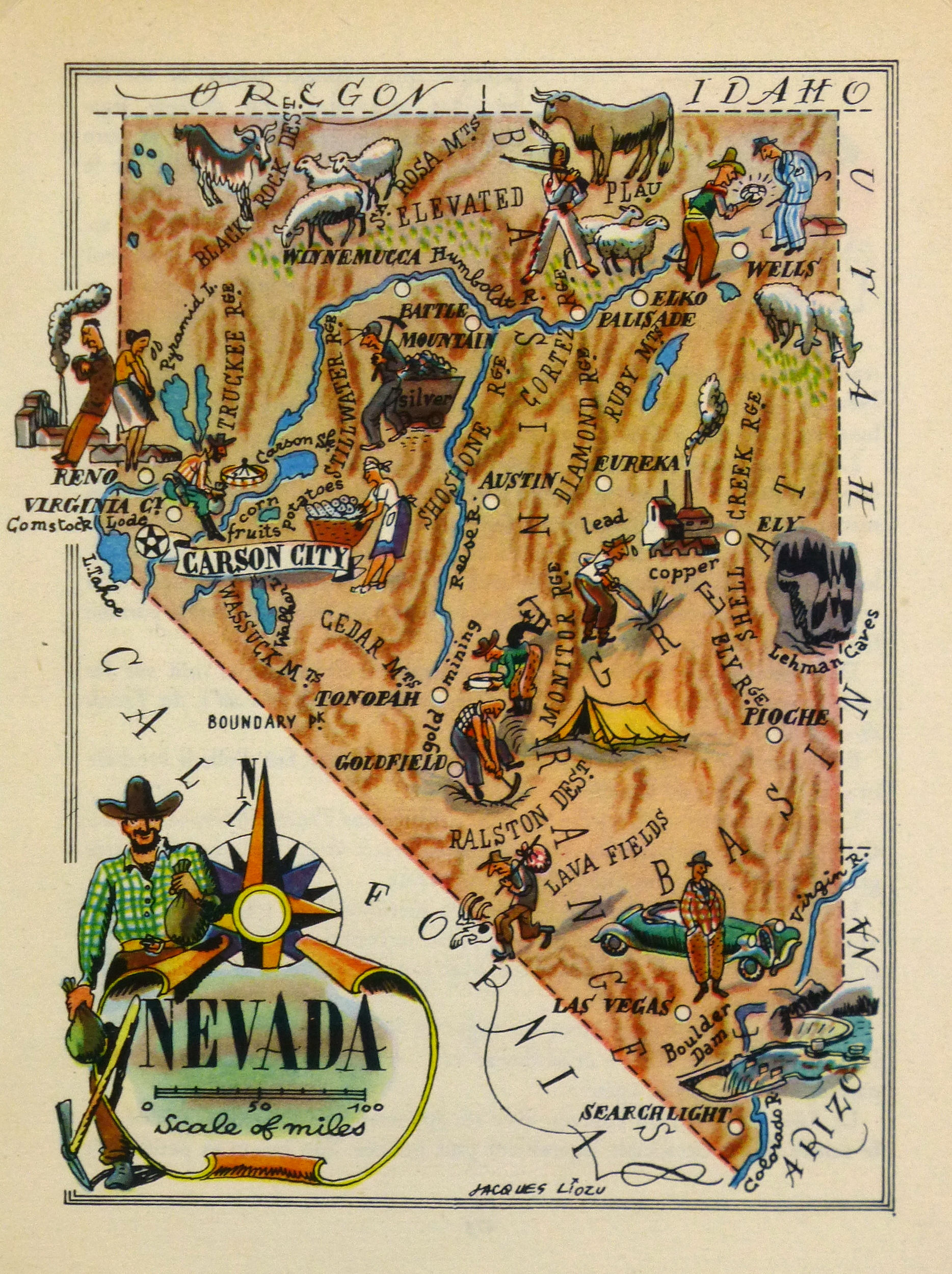 Nevada Pictorial Map, 1946
