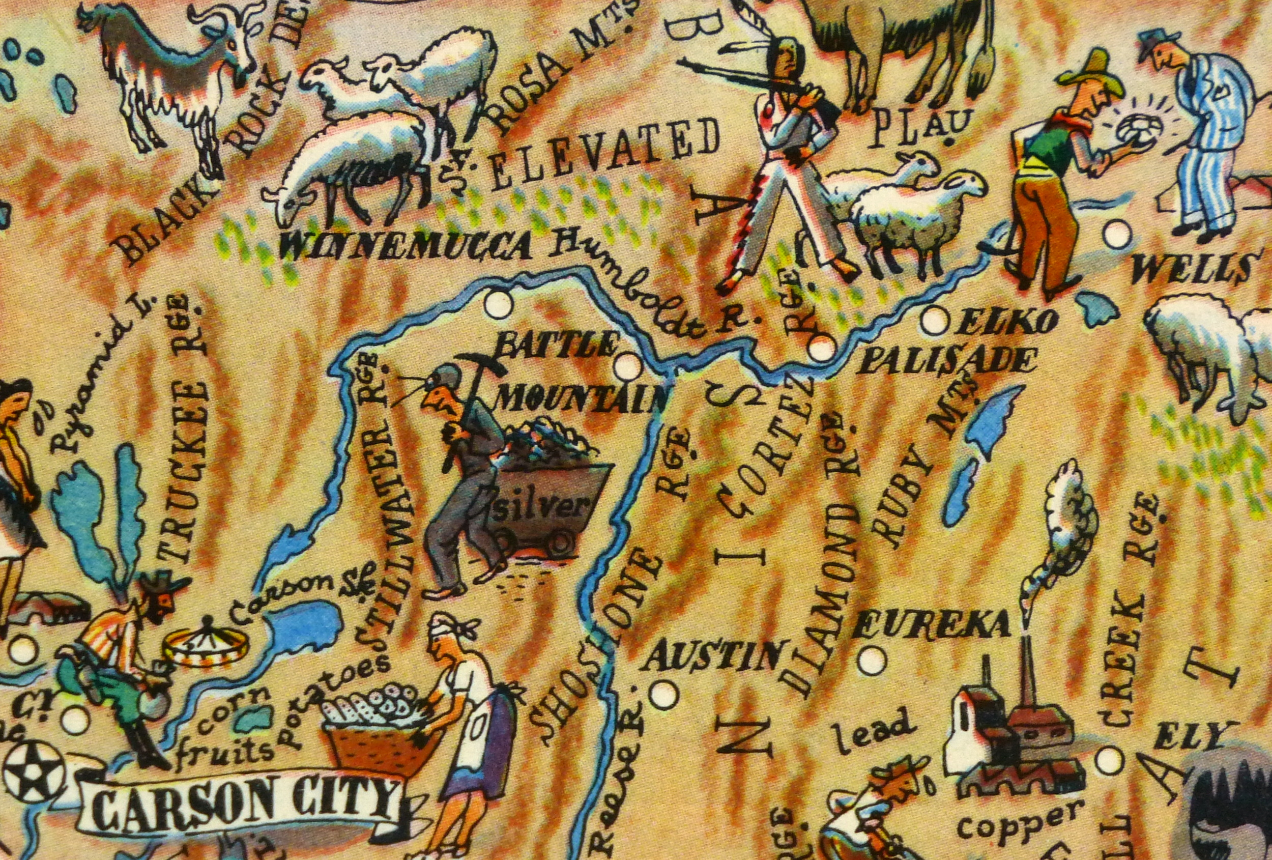Nevada Pictorial Map, 1946-detail-6246K