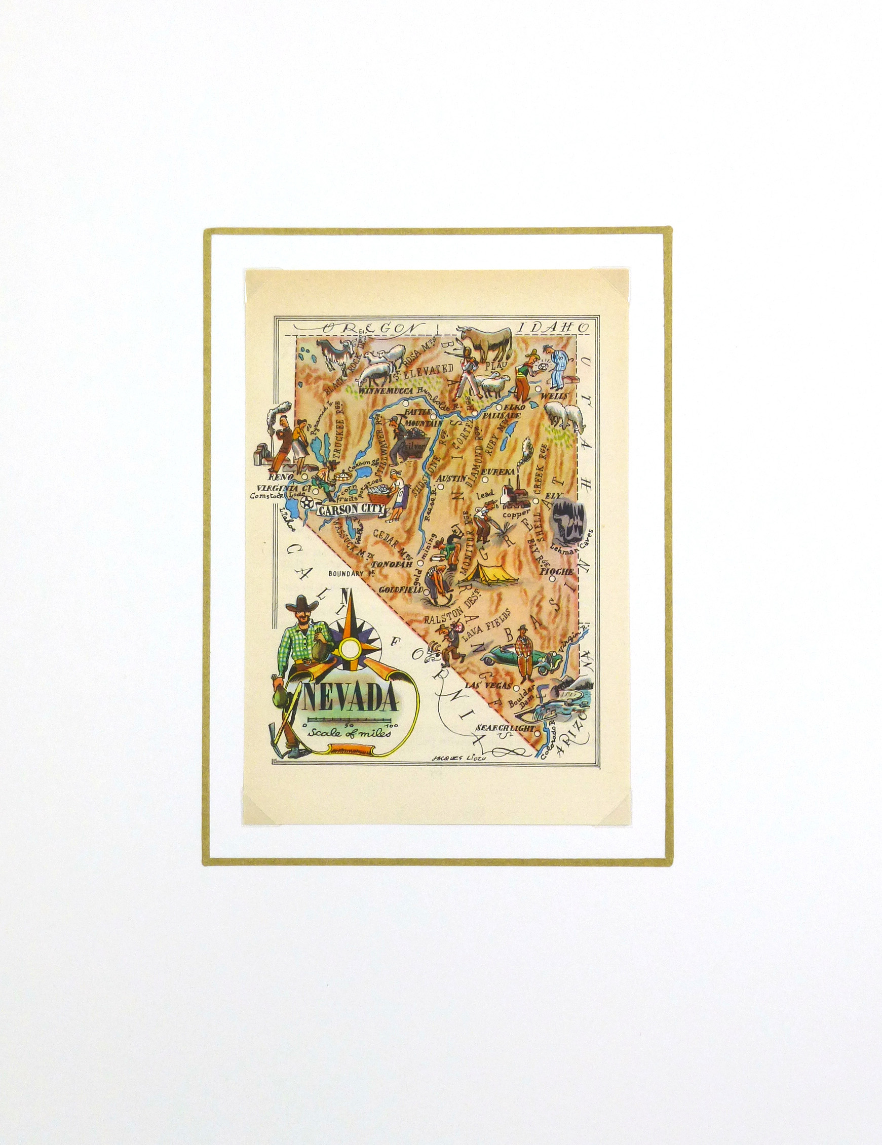 Nevada Pictorial Map, 1946-matted-6246K