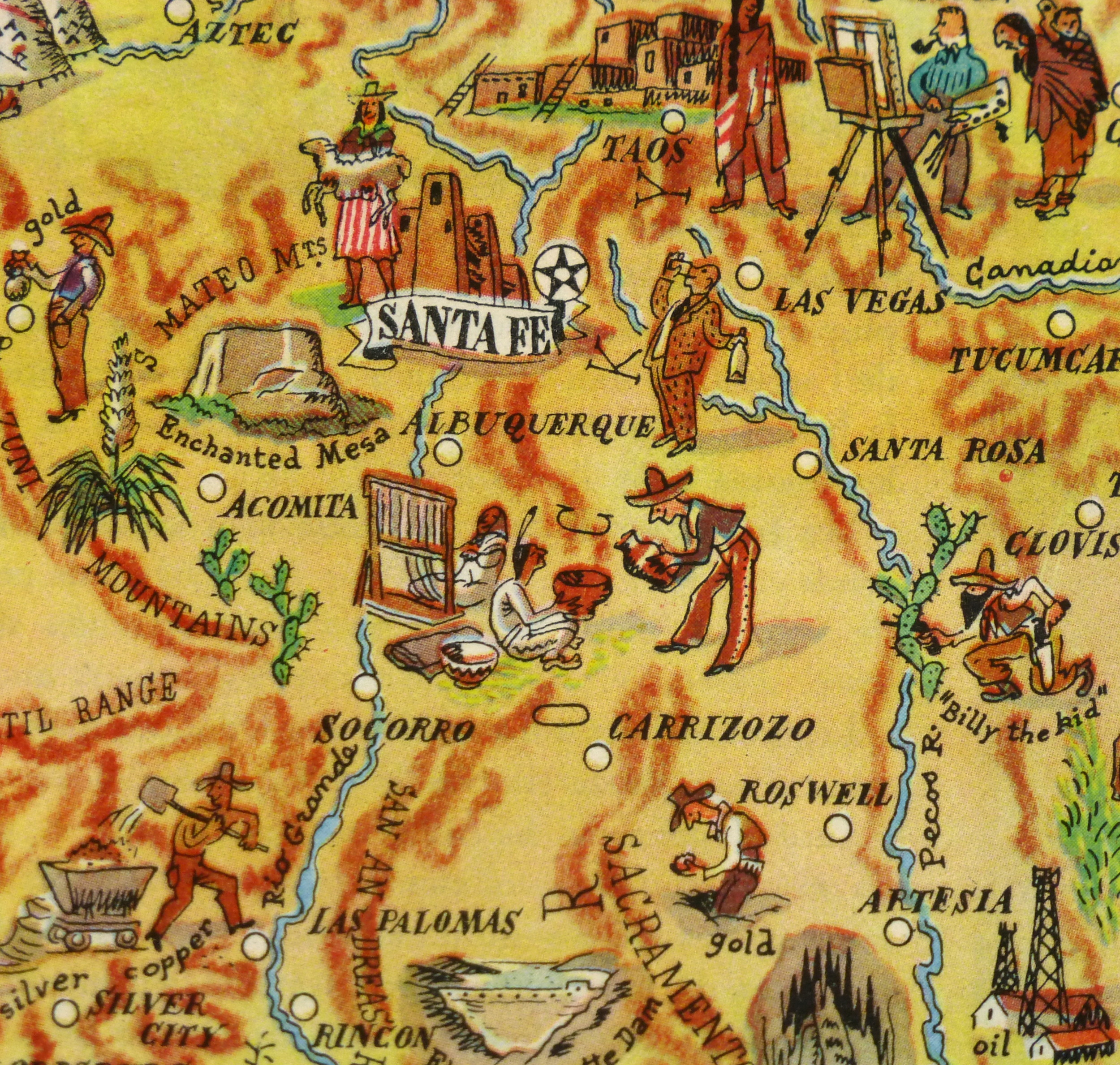 New Mexico Pictorial Map, 1946-detail-6247K
