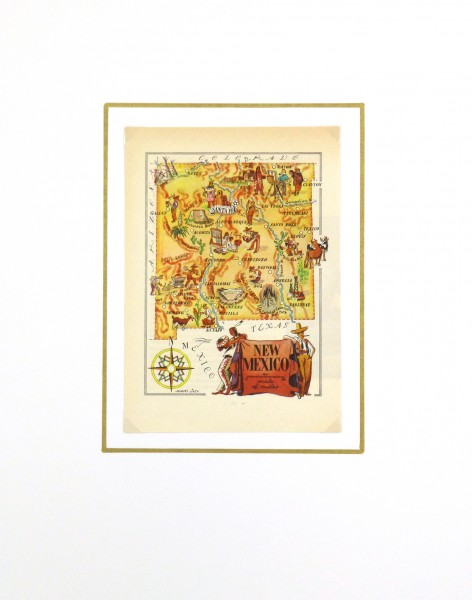 New Mexico Pictorial Map, 1946-matted-6247K