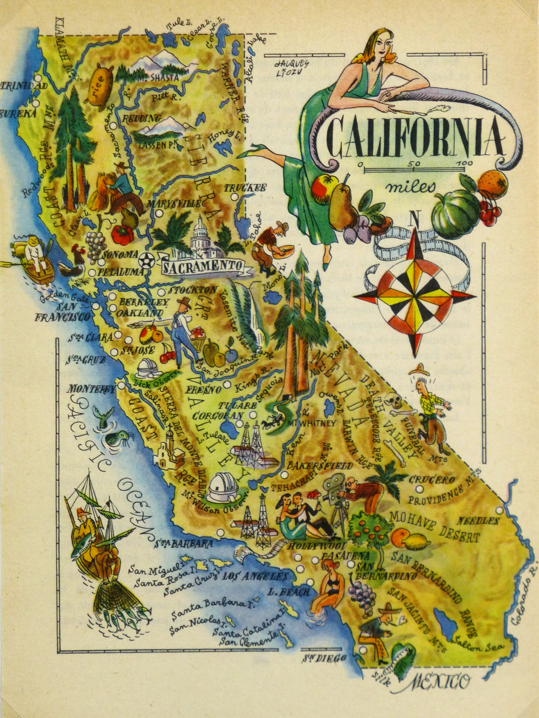 California Pictorial Map, 1946 on
