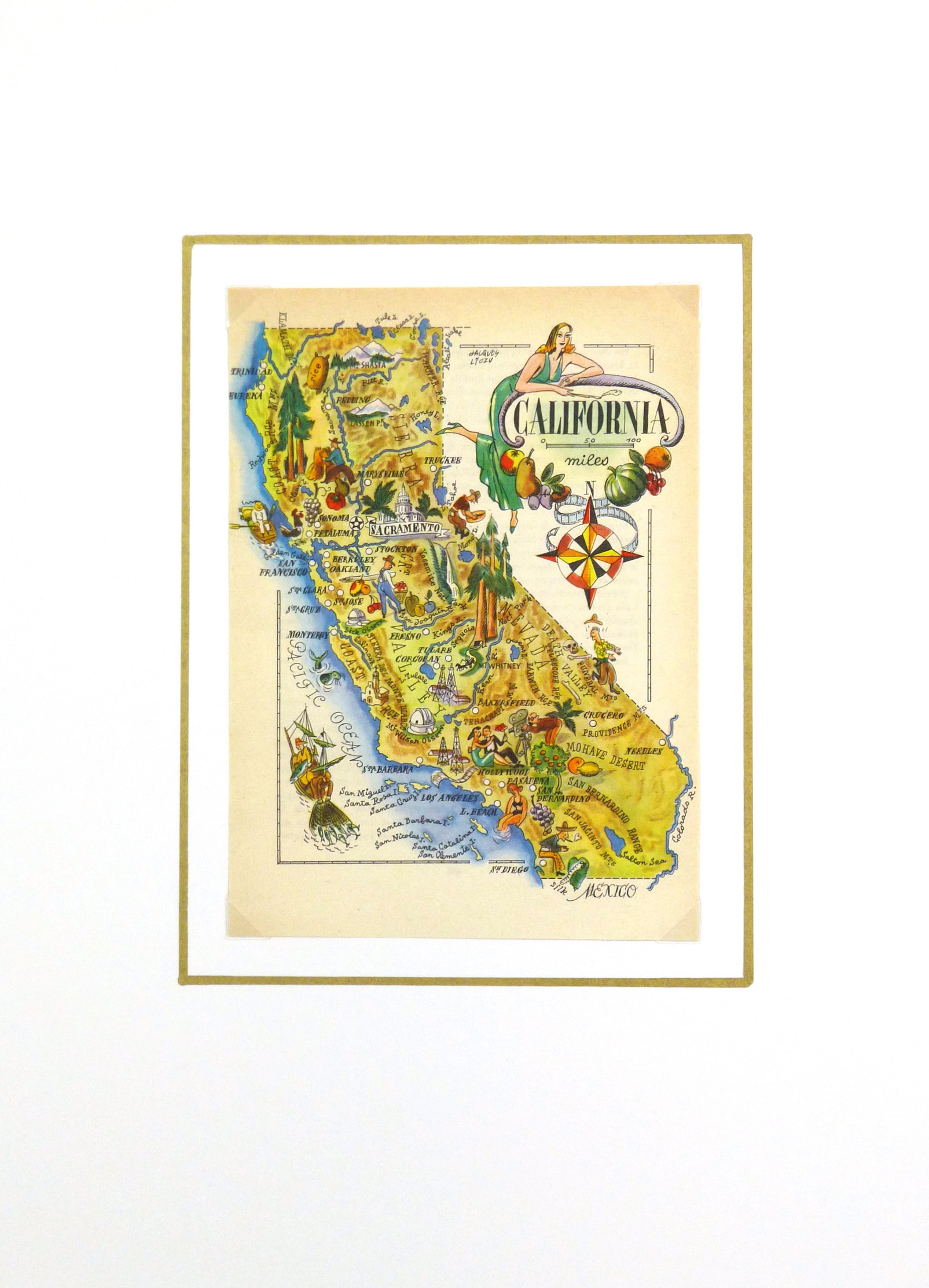 Pictorial Map - California, 1946-matted-6249K