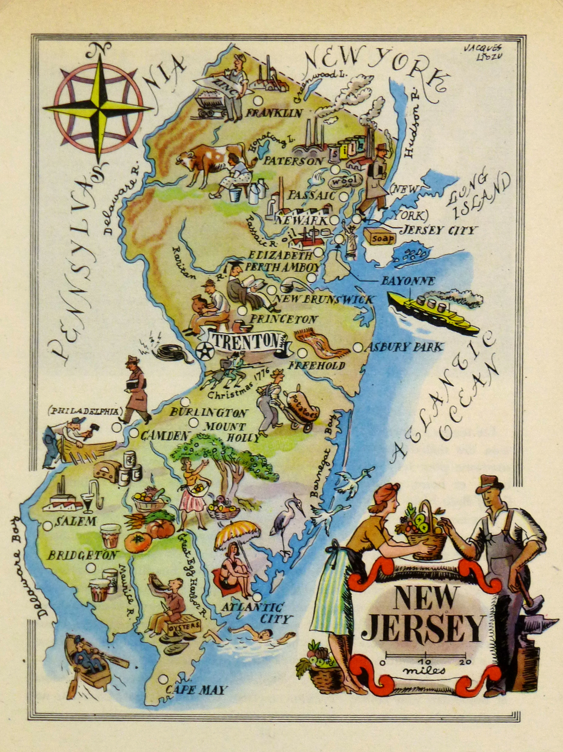New Jersey Pictorial Map, 1946-main-6251K