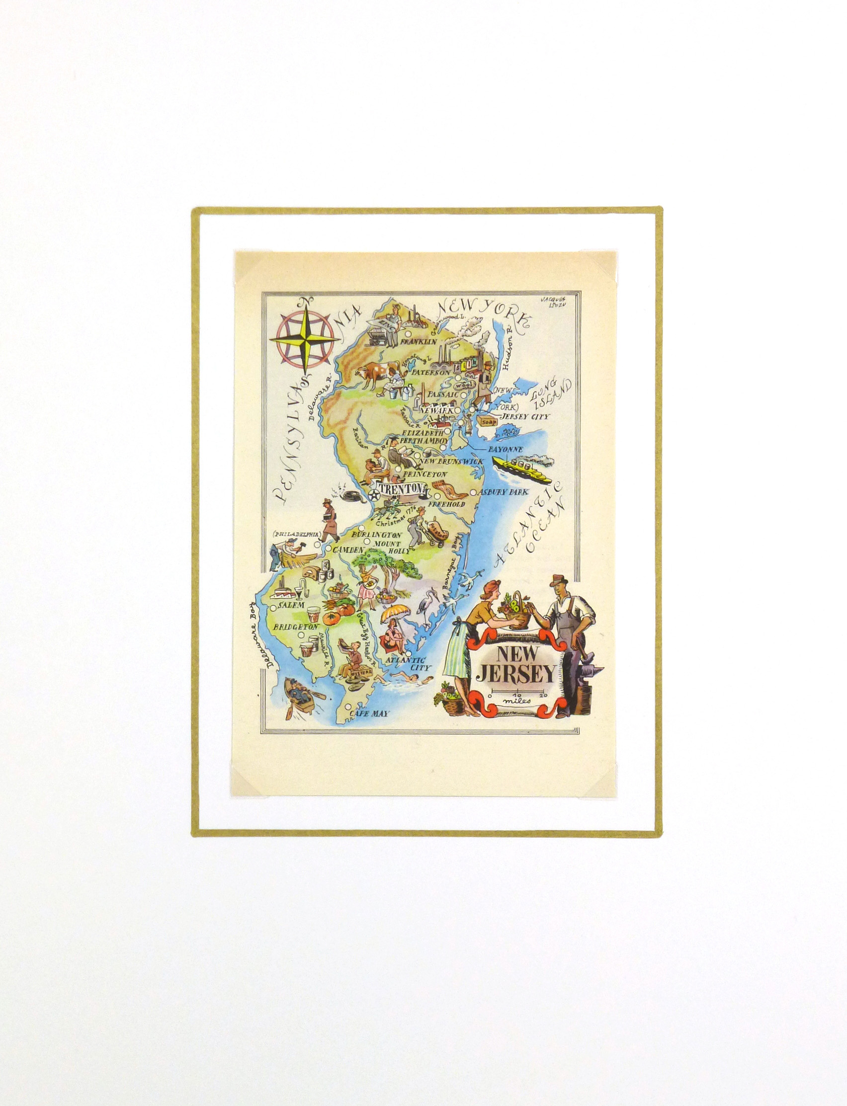 New Jersey Pictorial Map, 1946-matted-6251K