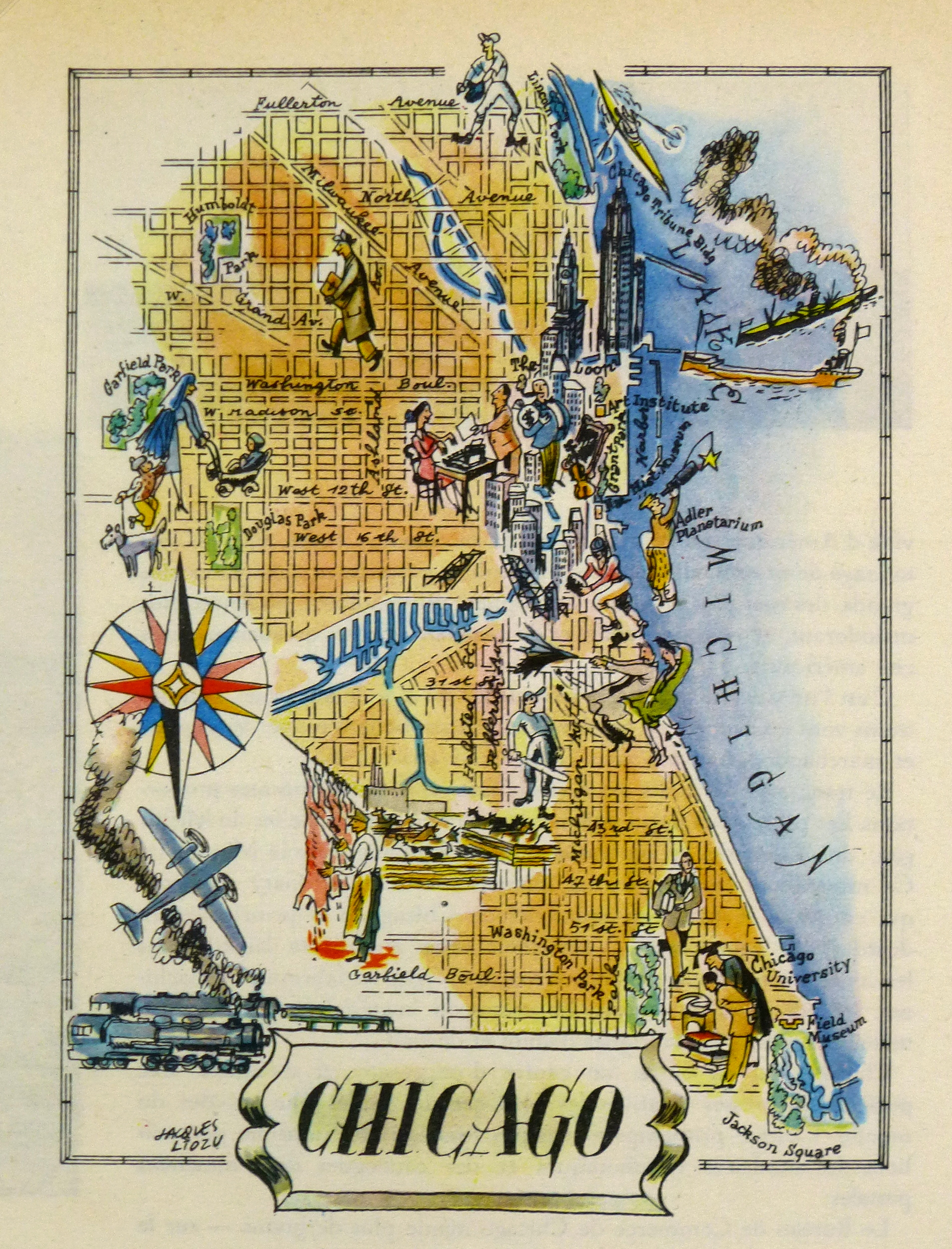 Chicago Pictorial Map, 1946