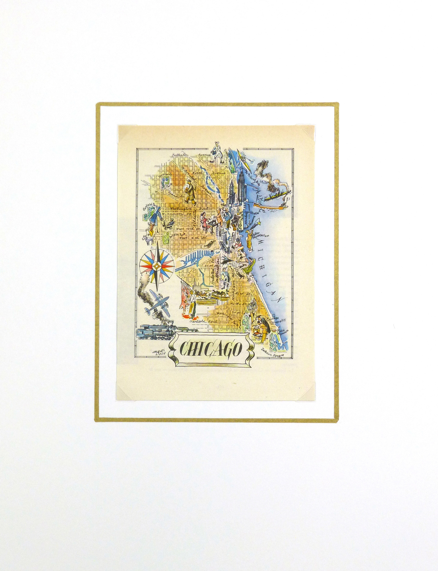 Pictorial Map - Chicago, 1946-matted-6252K