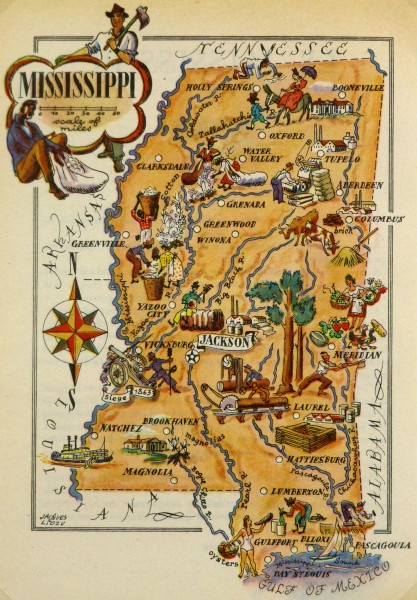 Mississippi Pictorial Map, 1946-main-6253K