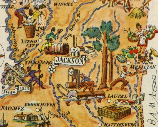 Mississippi Pictorial Map, 1946-detail-6253K