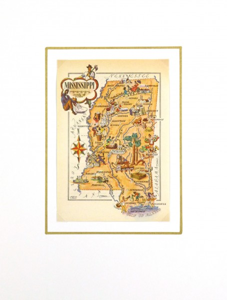 Mississippi Pictorial Map, 1946-matted-6253K