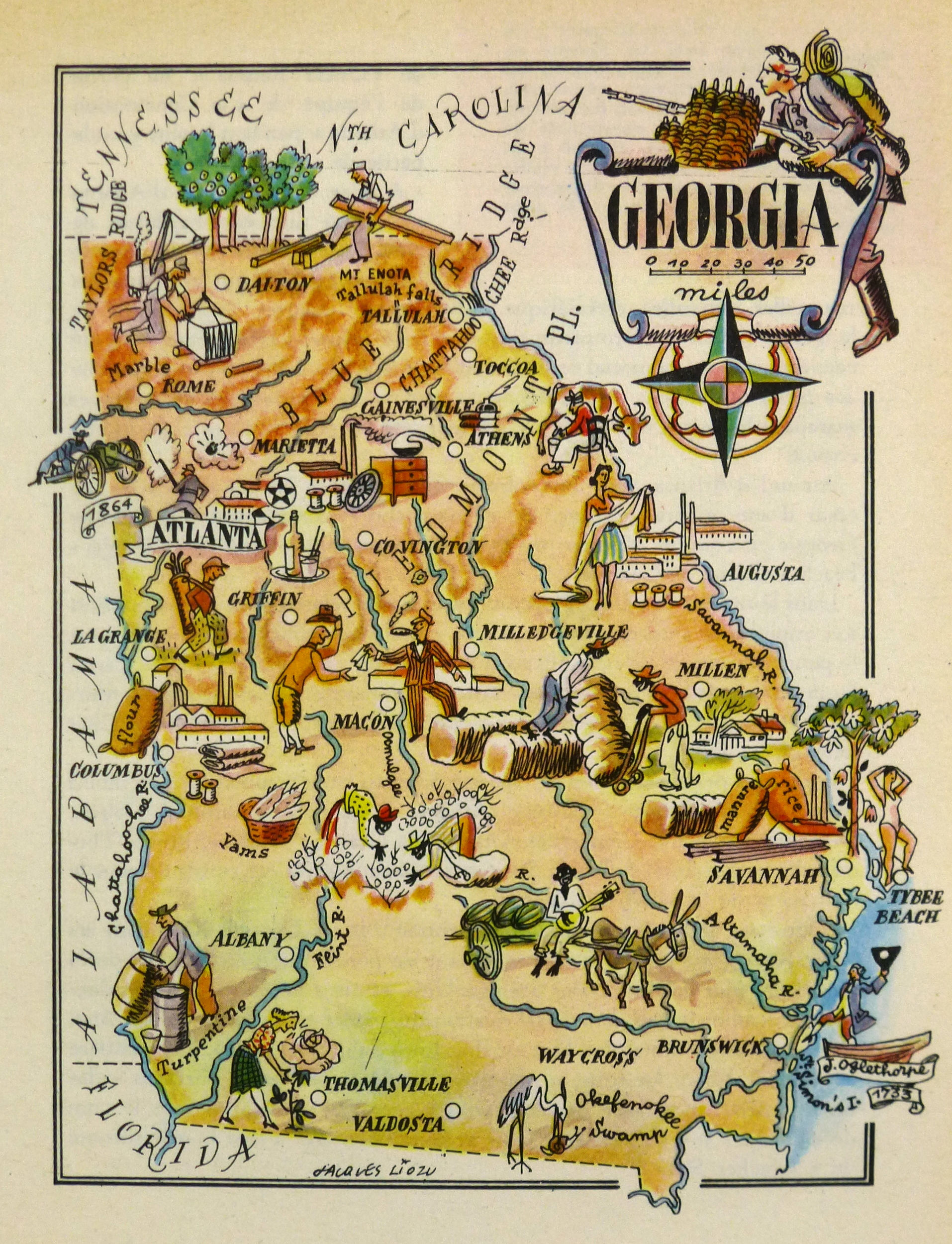 Georgia Pictorial Map, 1946