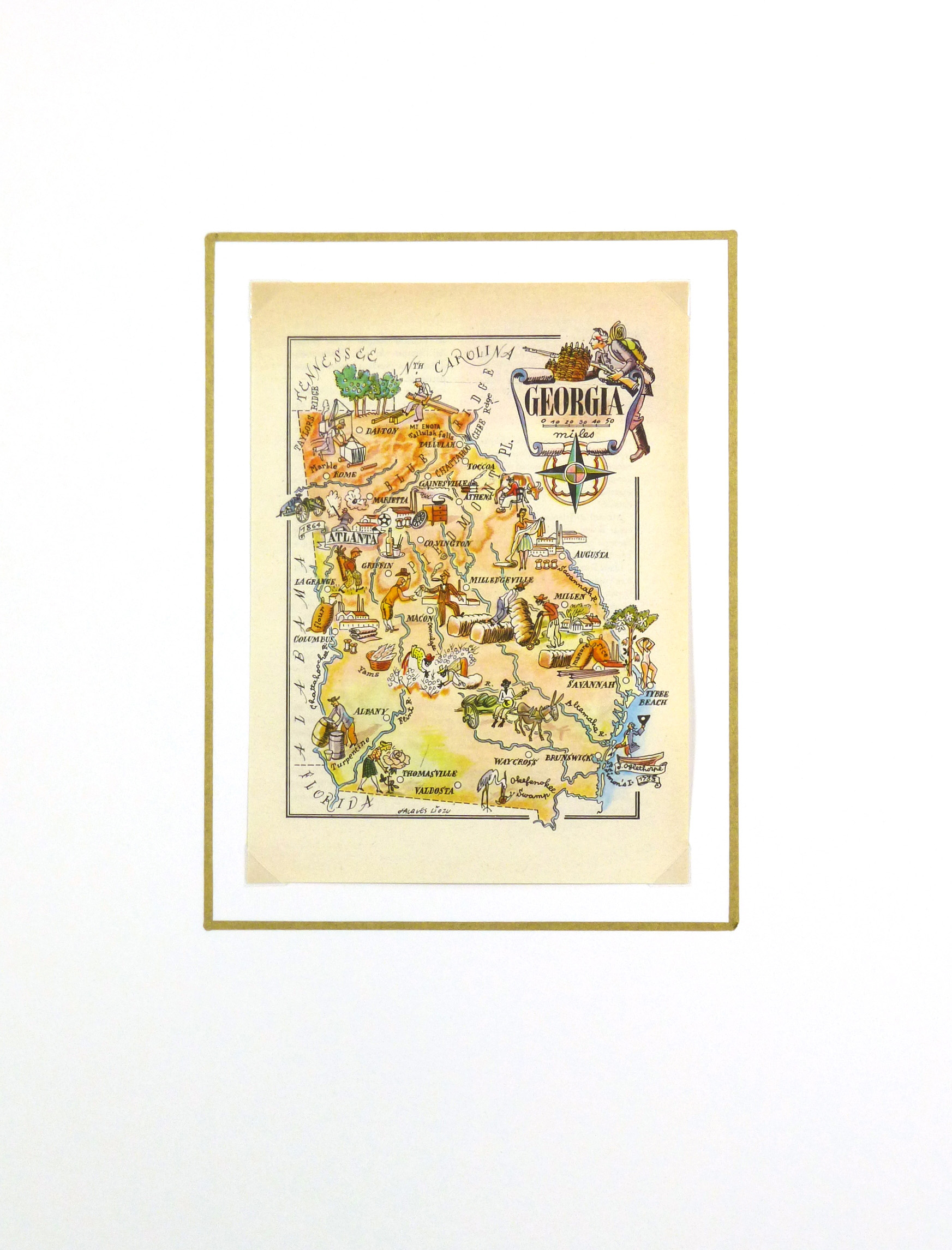 Pictorial Map - Georgia, 1946-matted-6254K