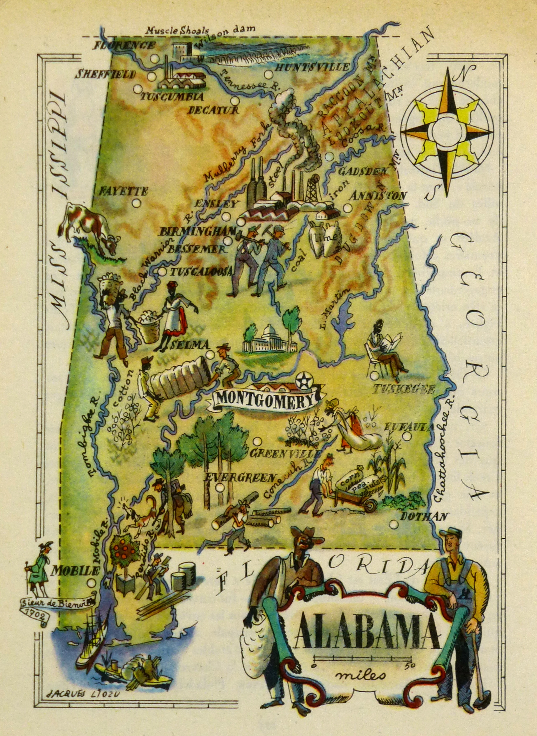 Pictorial Map - Alabama, 1946-main-6255K