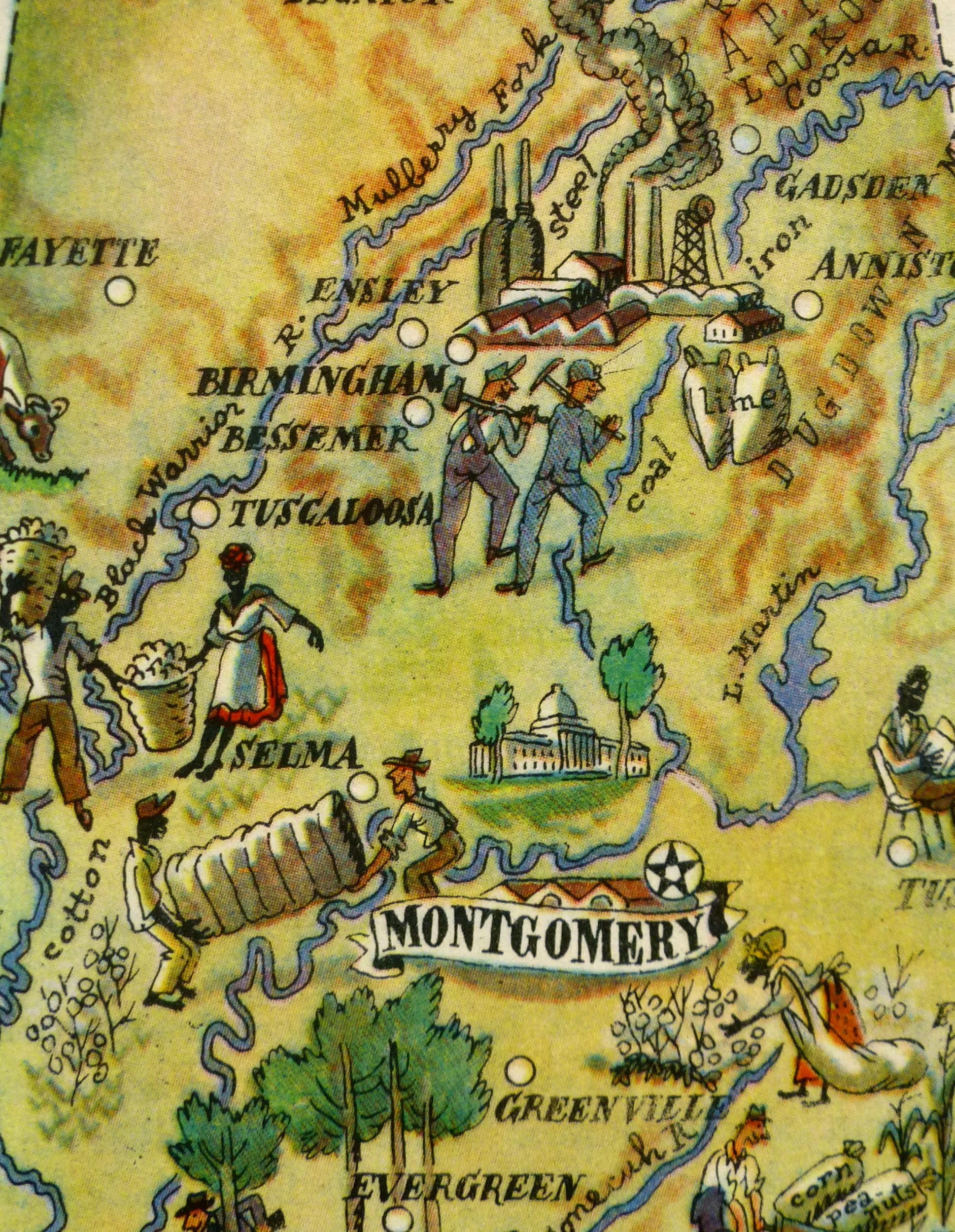 Pictorial Map - Alabama, 1946-detail-6255K