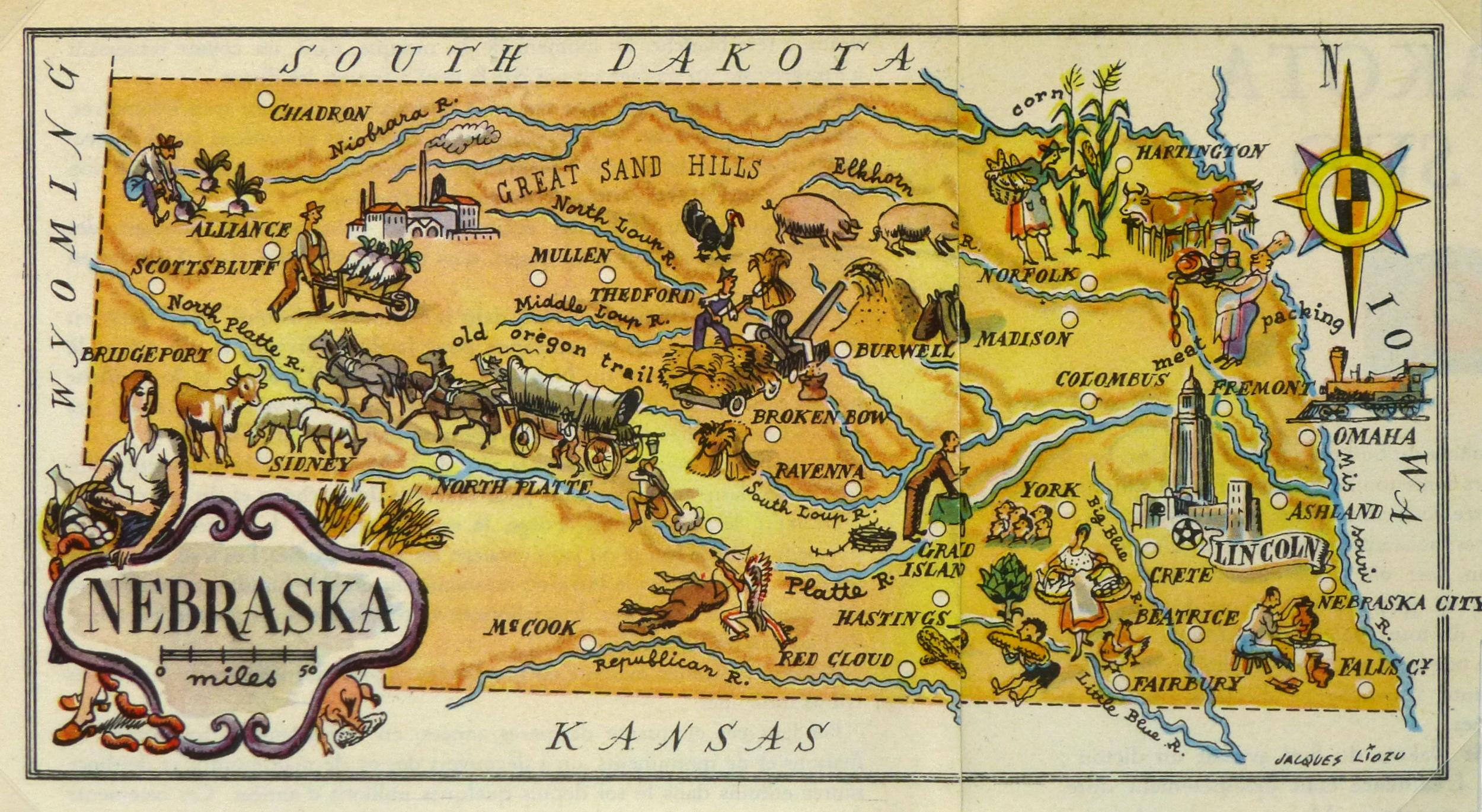Nebraska Pictorial Map, 1946-main-6256K